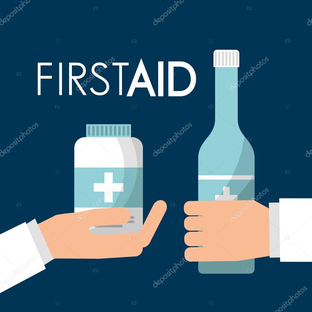 hands holding alcohol bottle and medicine care first aid