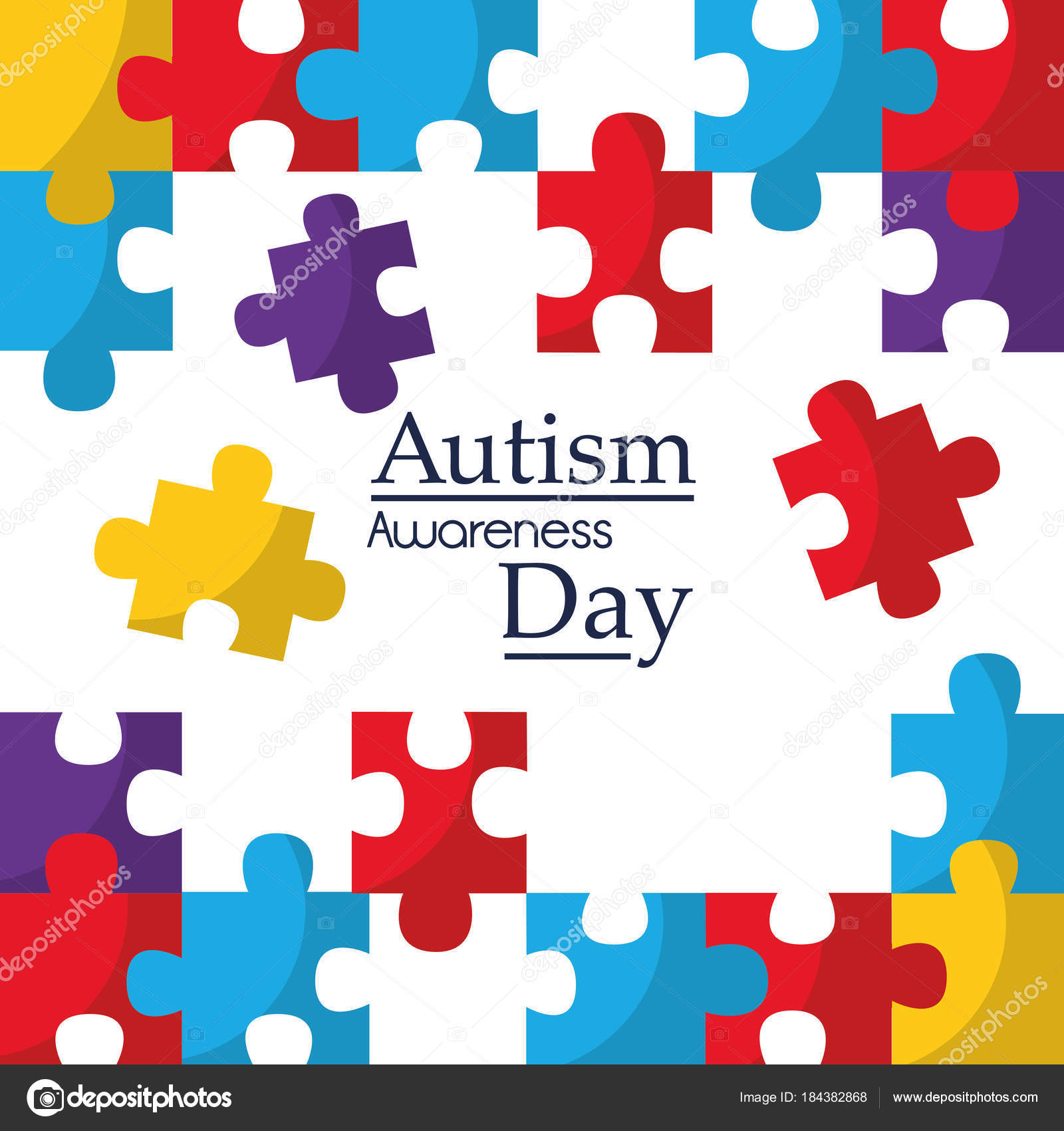 Autism Awareness Poster With Puzzle Pieces Solidarity And Support