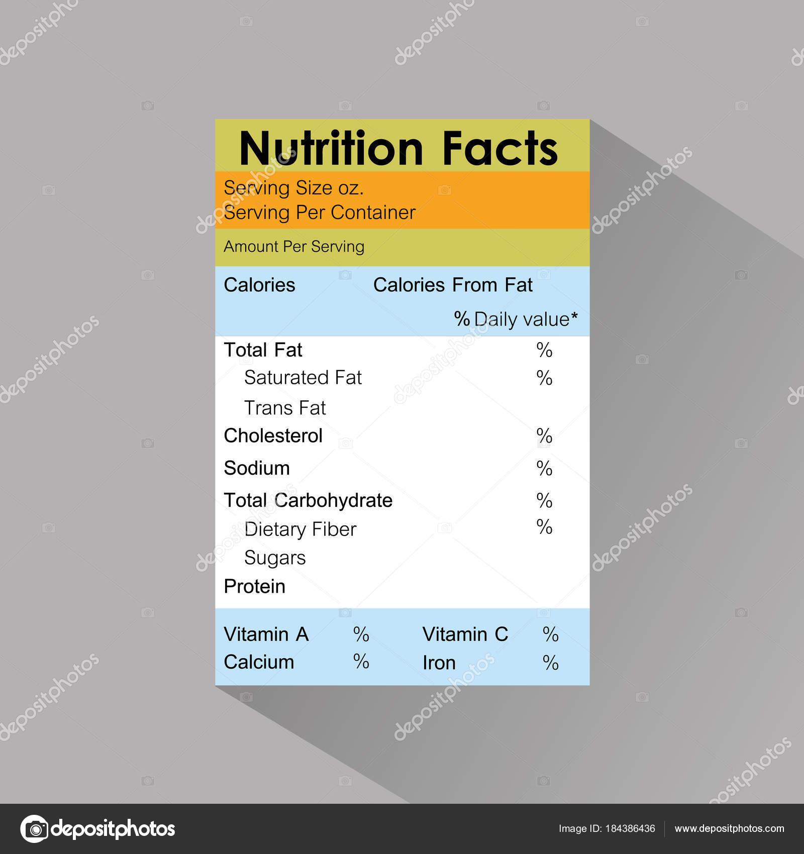 シャドウと栄養事実食品ラベル テンプレート ストックベクター