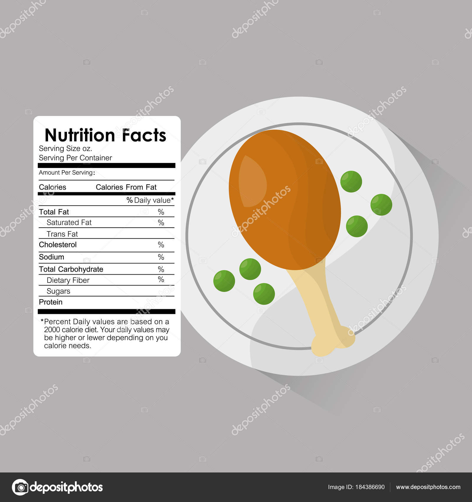 Nutrition facts of roasted chicken and peas label content