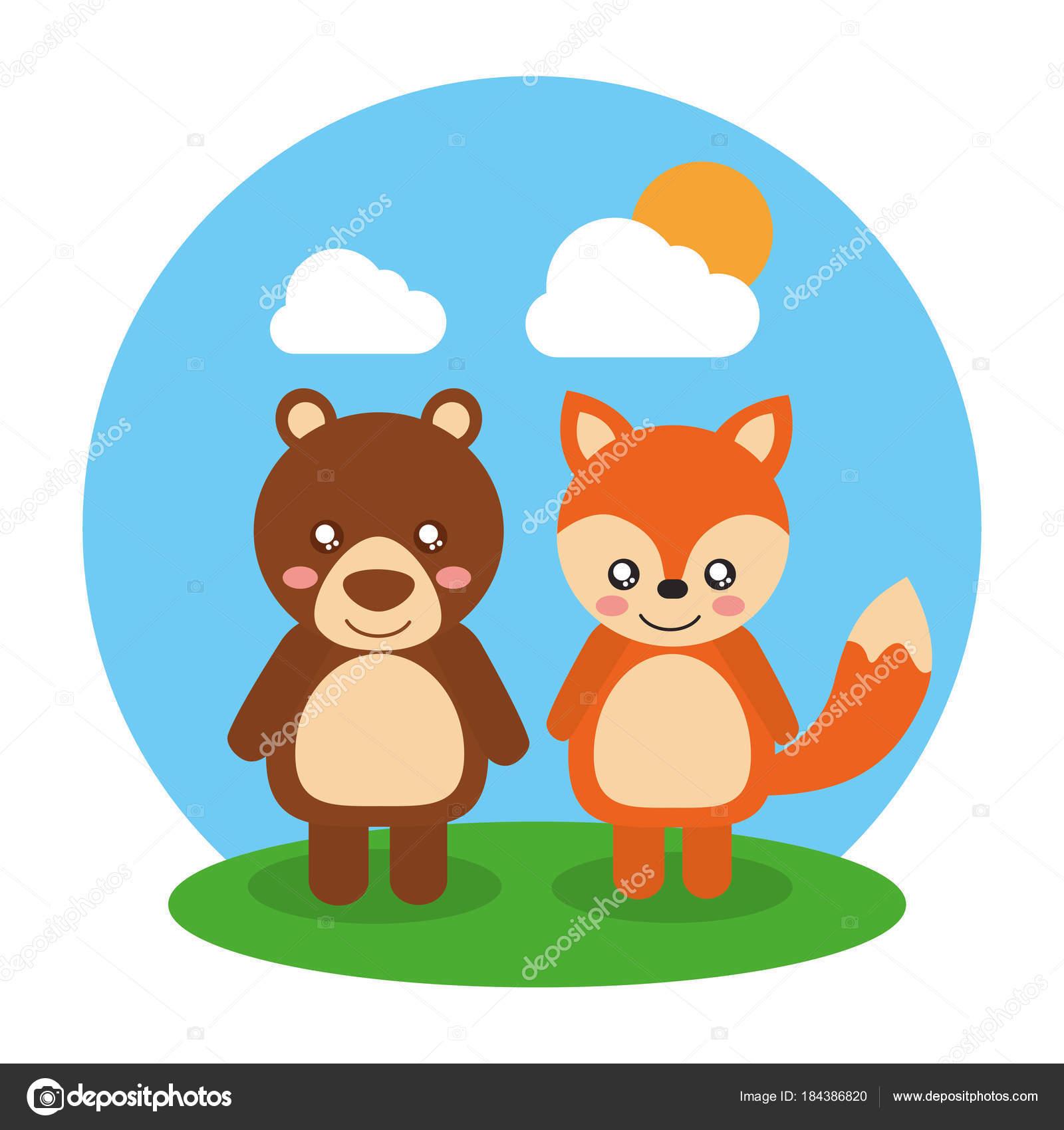 Paesaggio amichevole di due simpatici animali orso e volpe