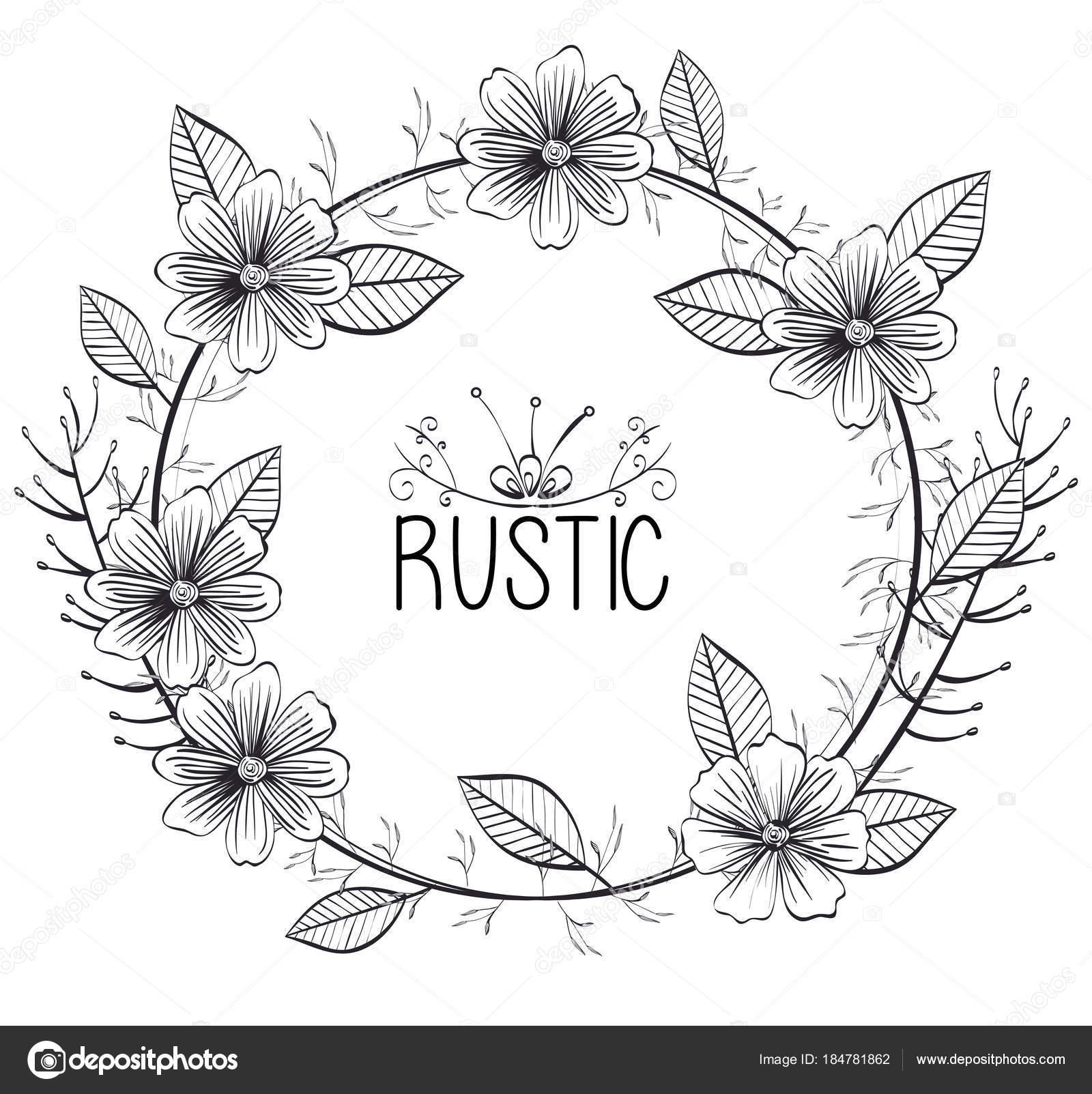 Rustic Circular Seal Wreath Vector Illustration Design By Yupiramos
