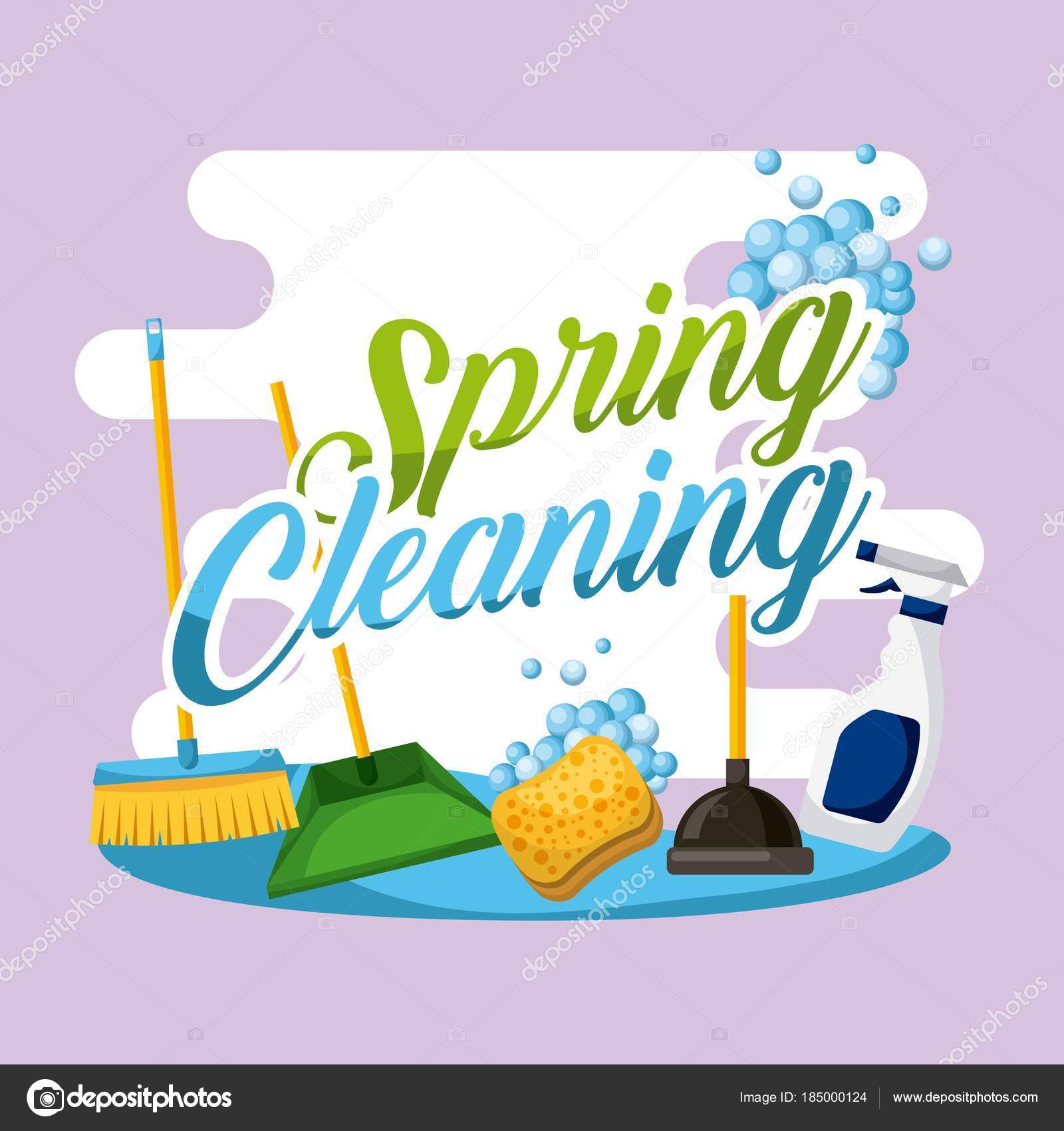 spring cleaning poster house work equipment stock vector