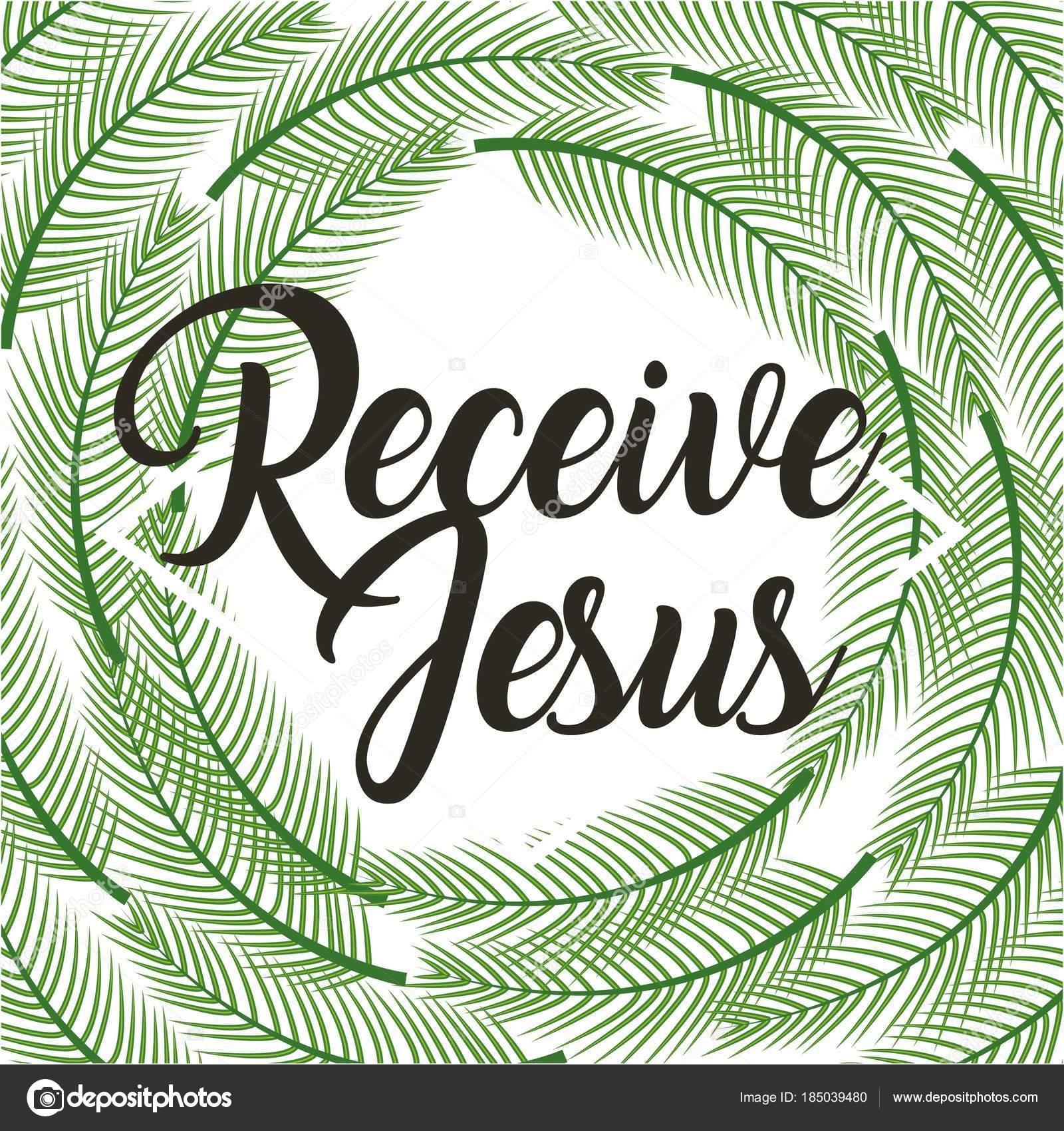 recibe ramas religiosas Palma marco de Jesús poster — Archivo ...