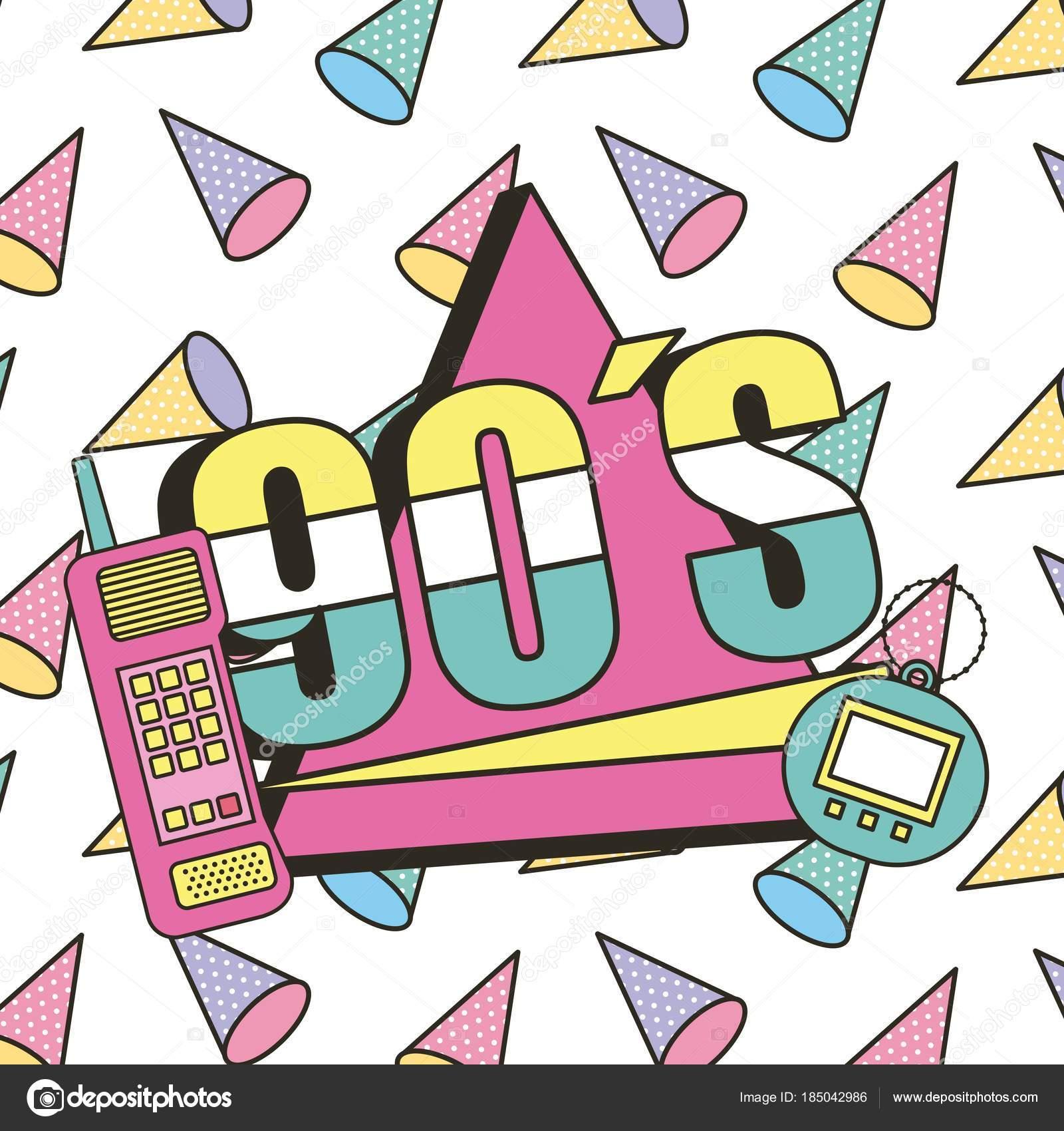 90 年代の携帯電話とグッズ電子レトロ メンフィス装飾 ストック