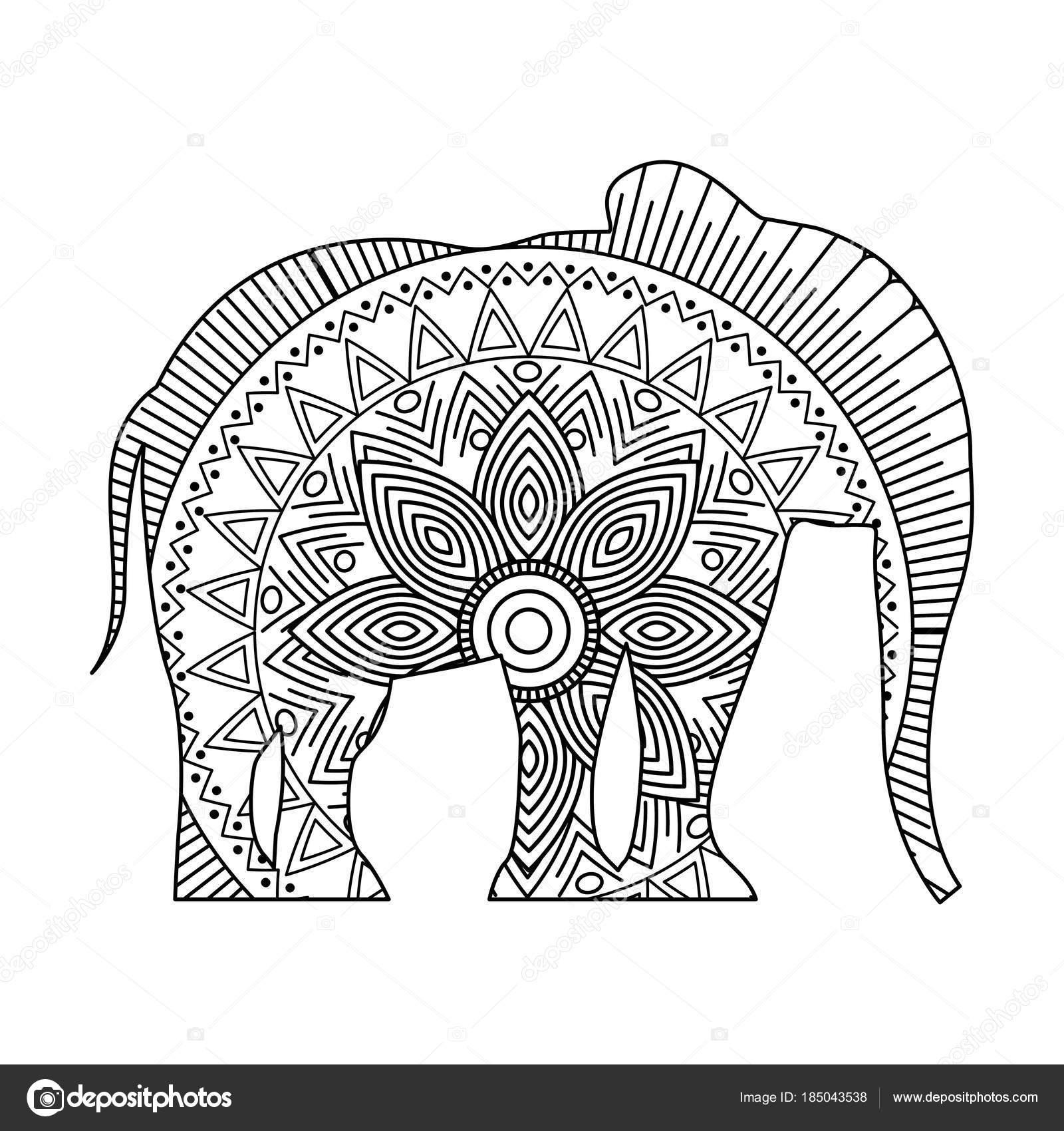 Zeichnung Zentangle Für Erwachsene Malvorlagen Elefant Stockvektor