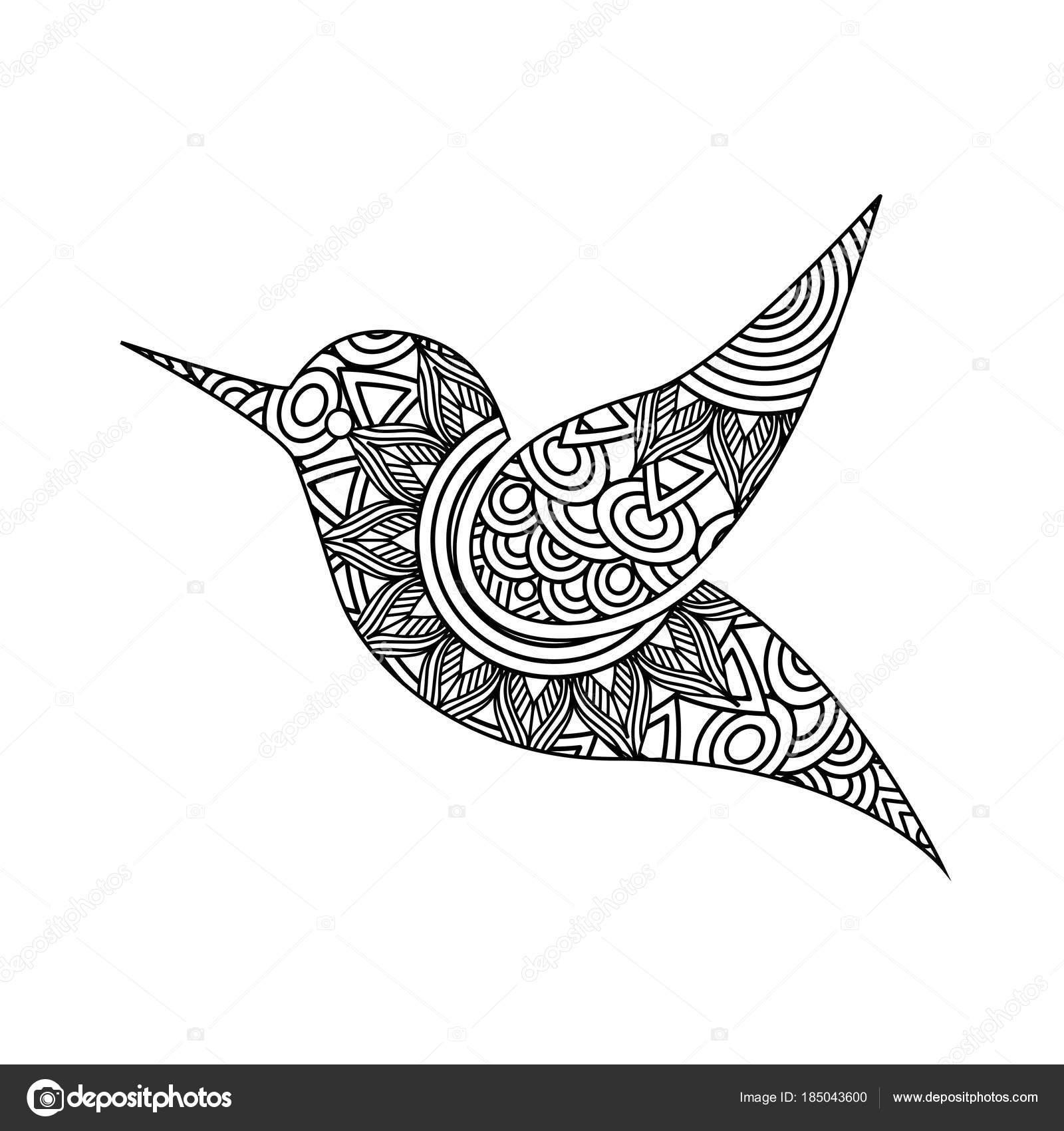 Zeichnung Zentangle für Erwachsene Malvorlagen Vogel — Stockvektor ...