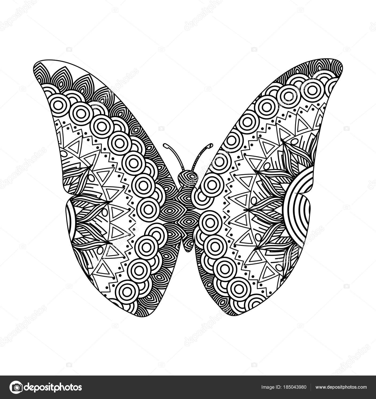 Volwassen Kleurplaten Vlinders.Tekening Zentangle Voor Volwassen Kleurplaat Vlinder Stockvector