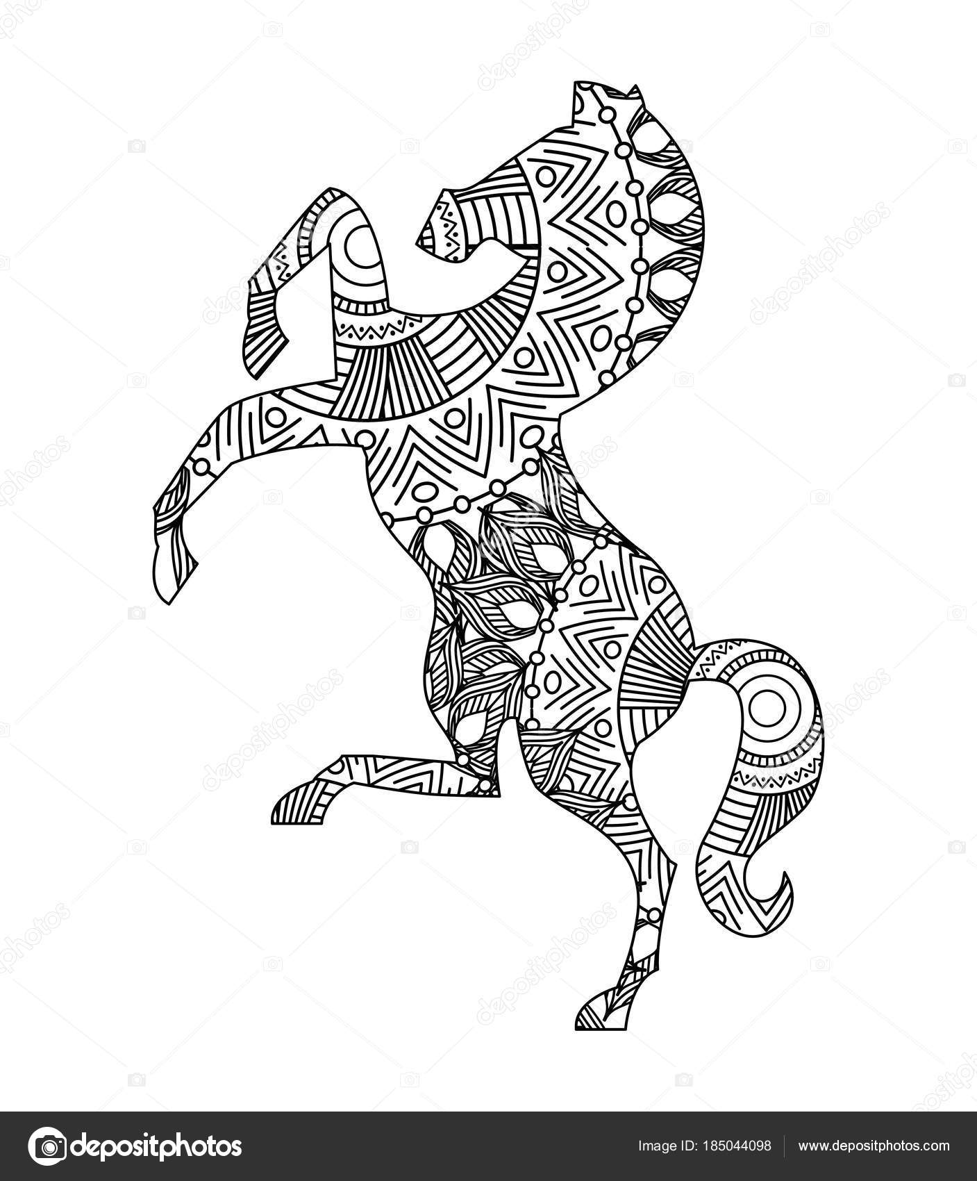 Coloriage Cheval Zen.Dessin Zentangle Pour Adultes De Coloriage Cheval Image