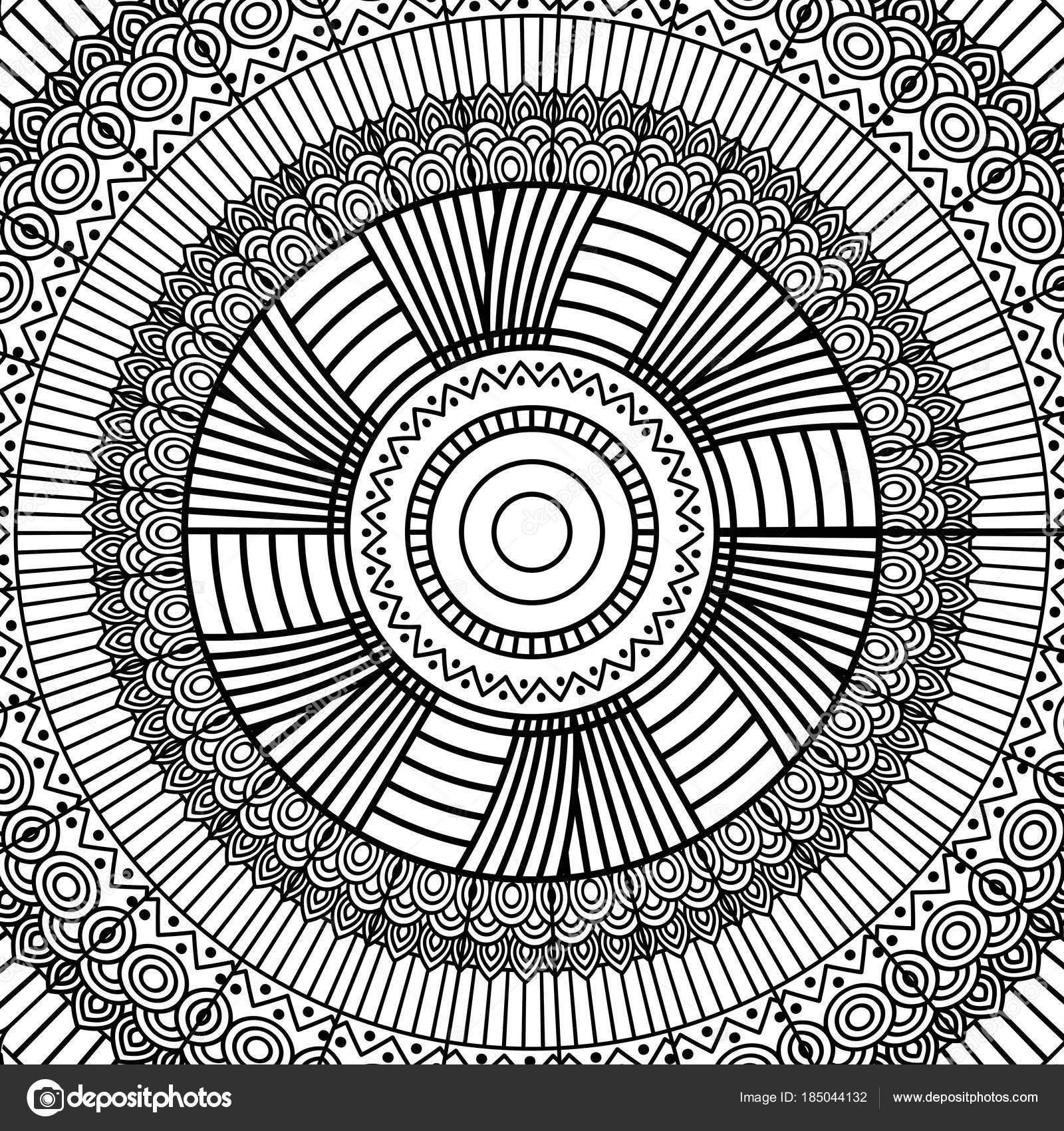 Tribal Noir Et Blanc Mandala Geometrique Rond Decoration D Ornement