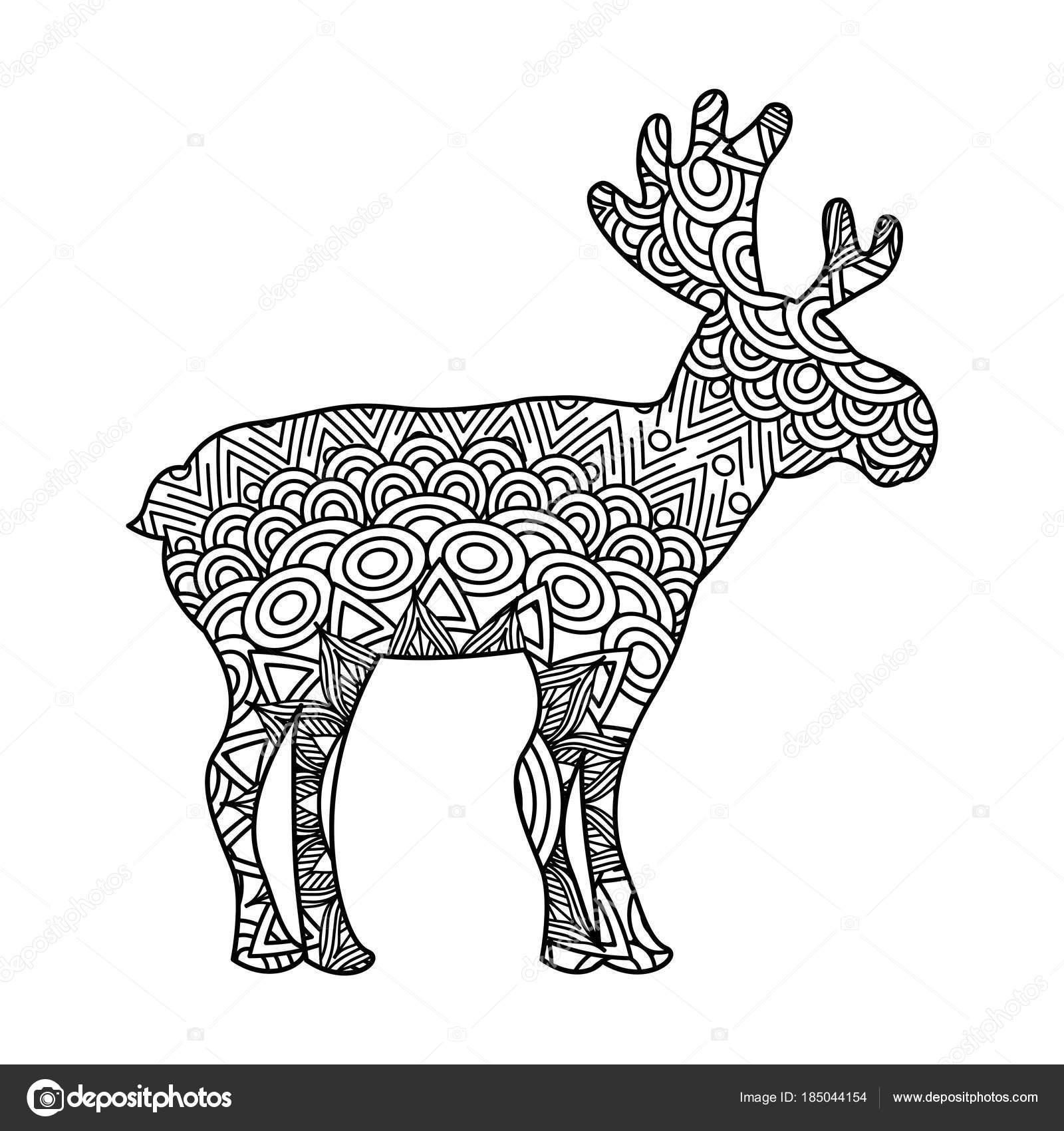 dibujo zentangle para página de adultos para colorear ciervo ...