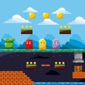 pixel herní scénu duchové přízemí poklad mincí