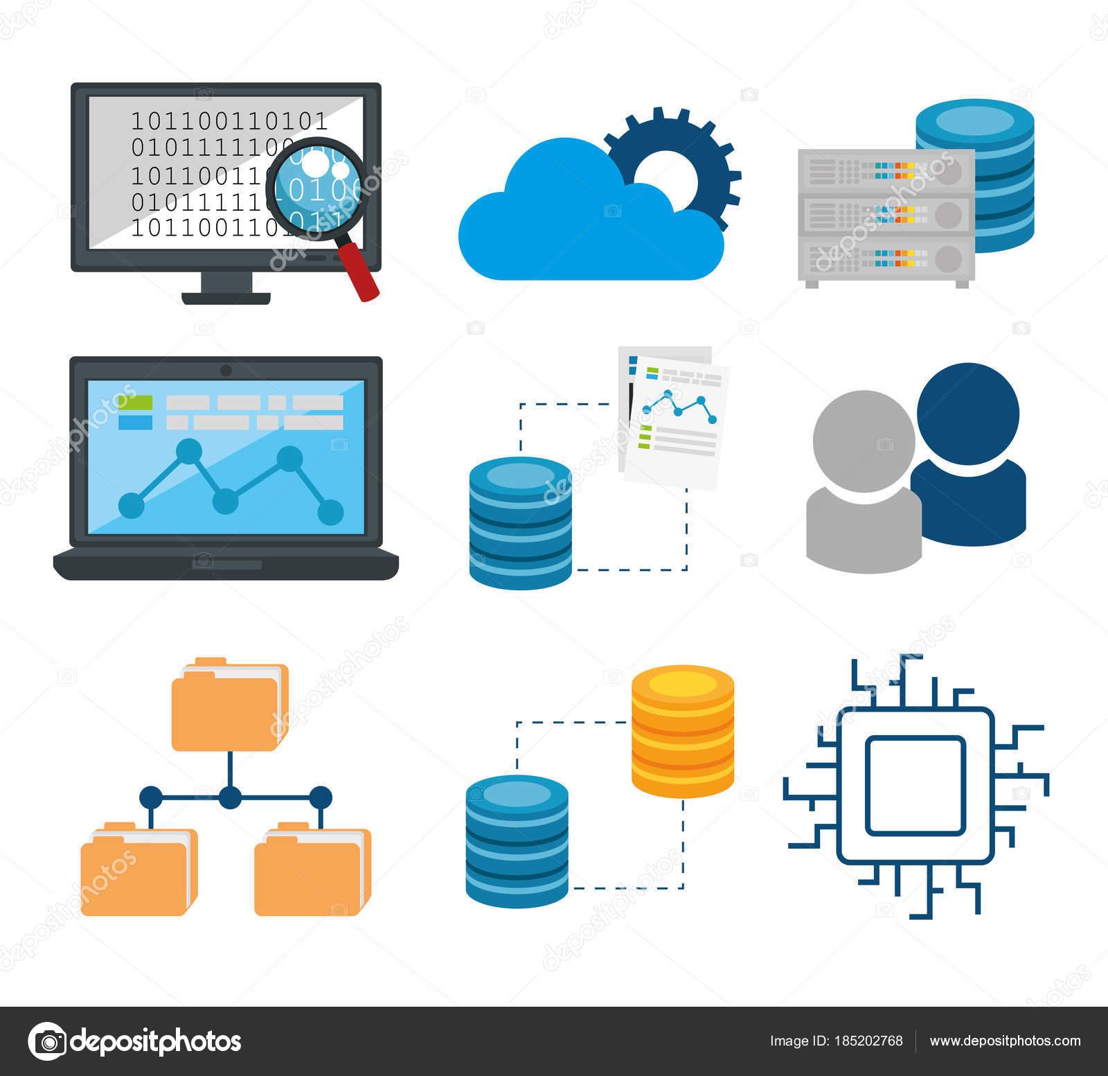 big data set icons — Stock Vector © yupiramos #185202768