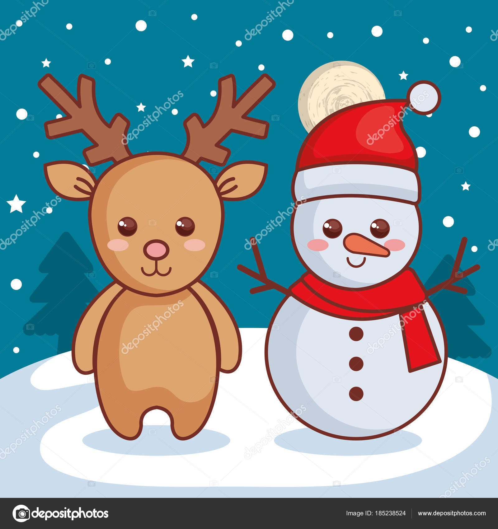 Reindeer with snowman christmas characters icon \u2014 Stock