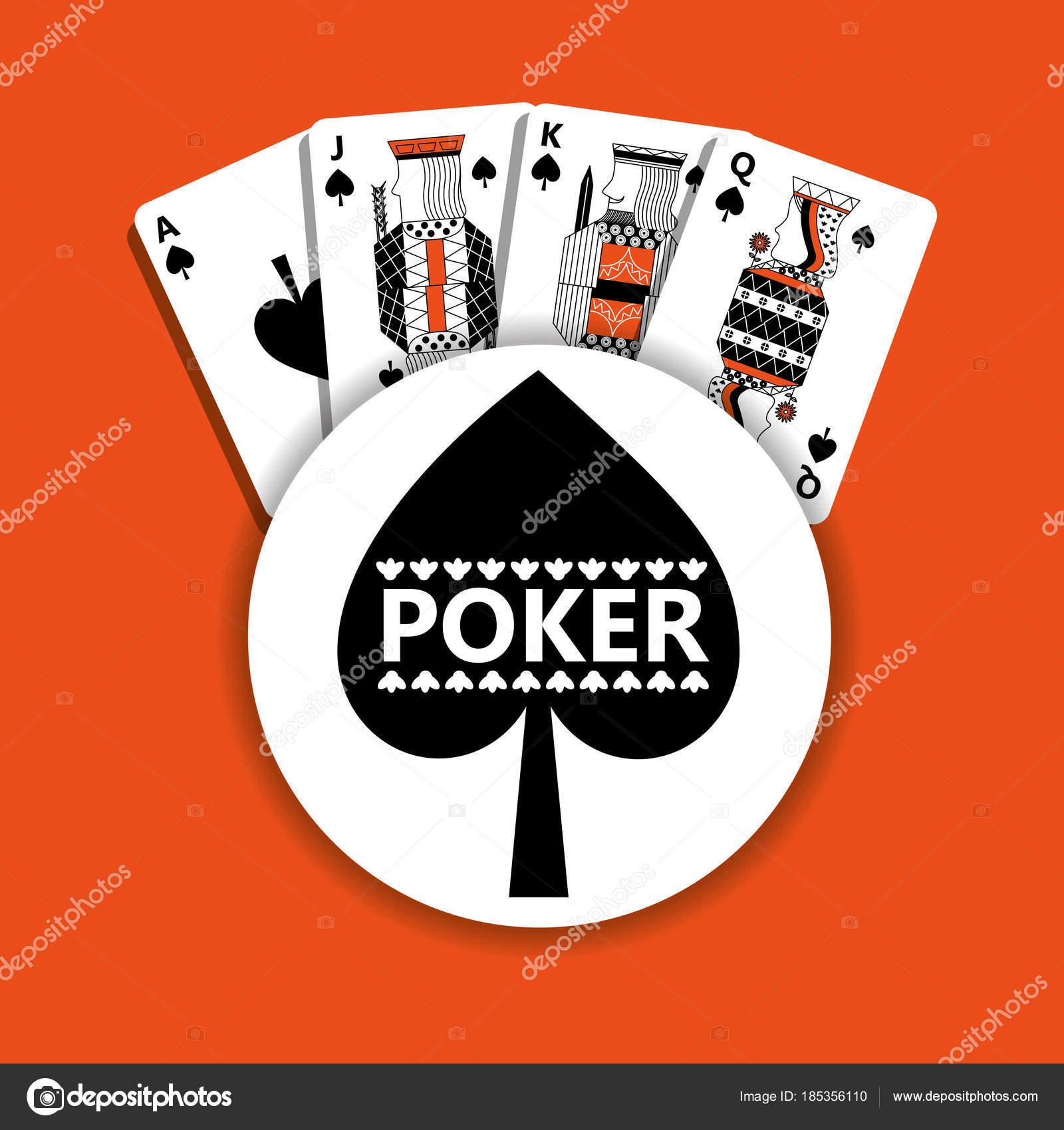 Spade Emblem Kasino Karty Bohatstvi Pokeru Stock Vektor