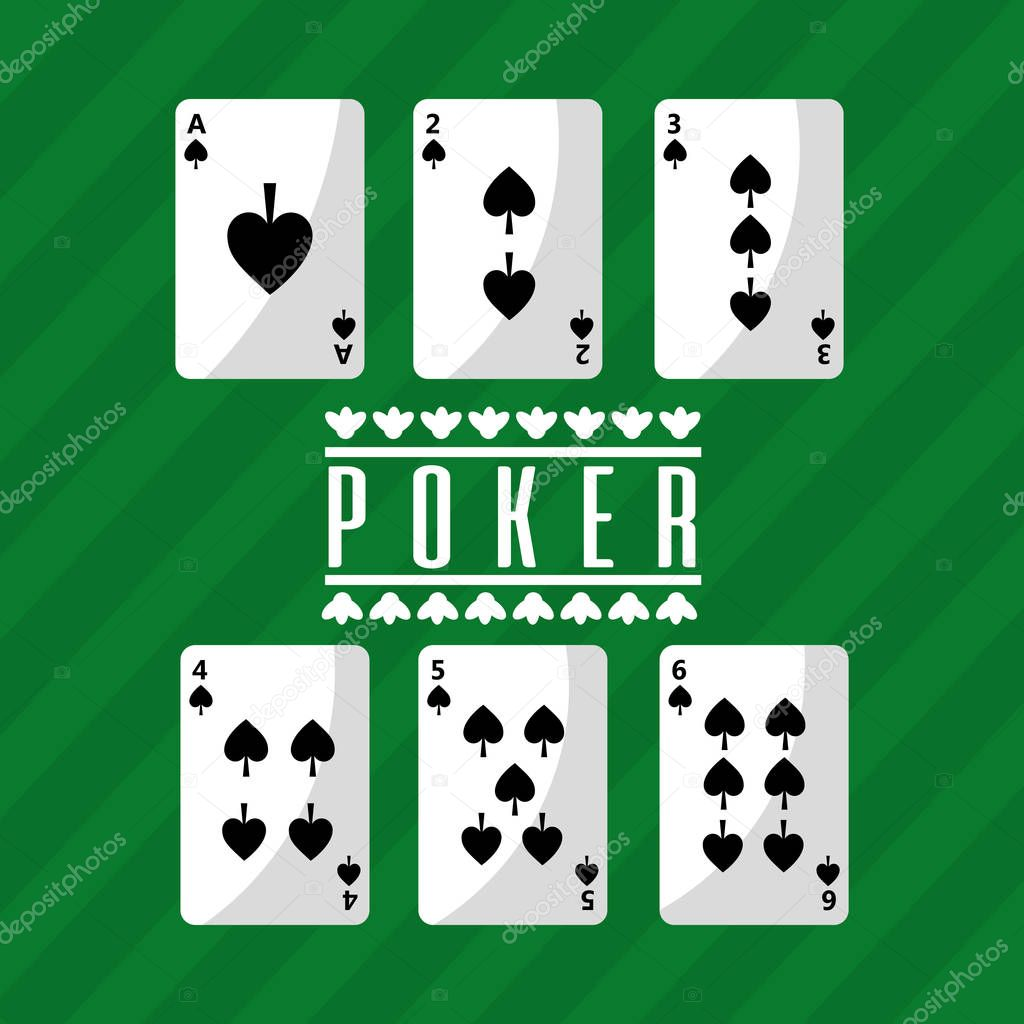poker playing cards deck spade playing green background