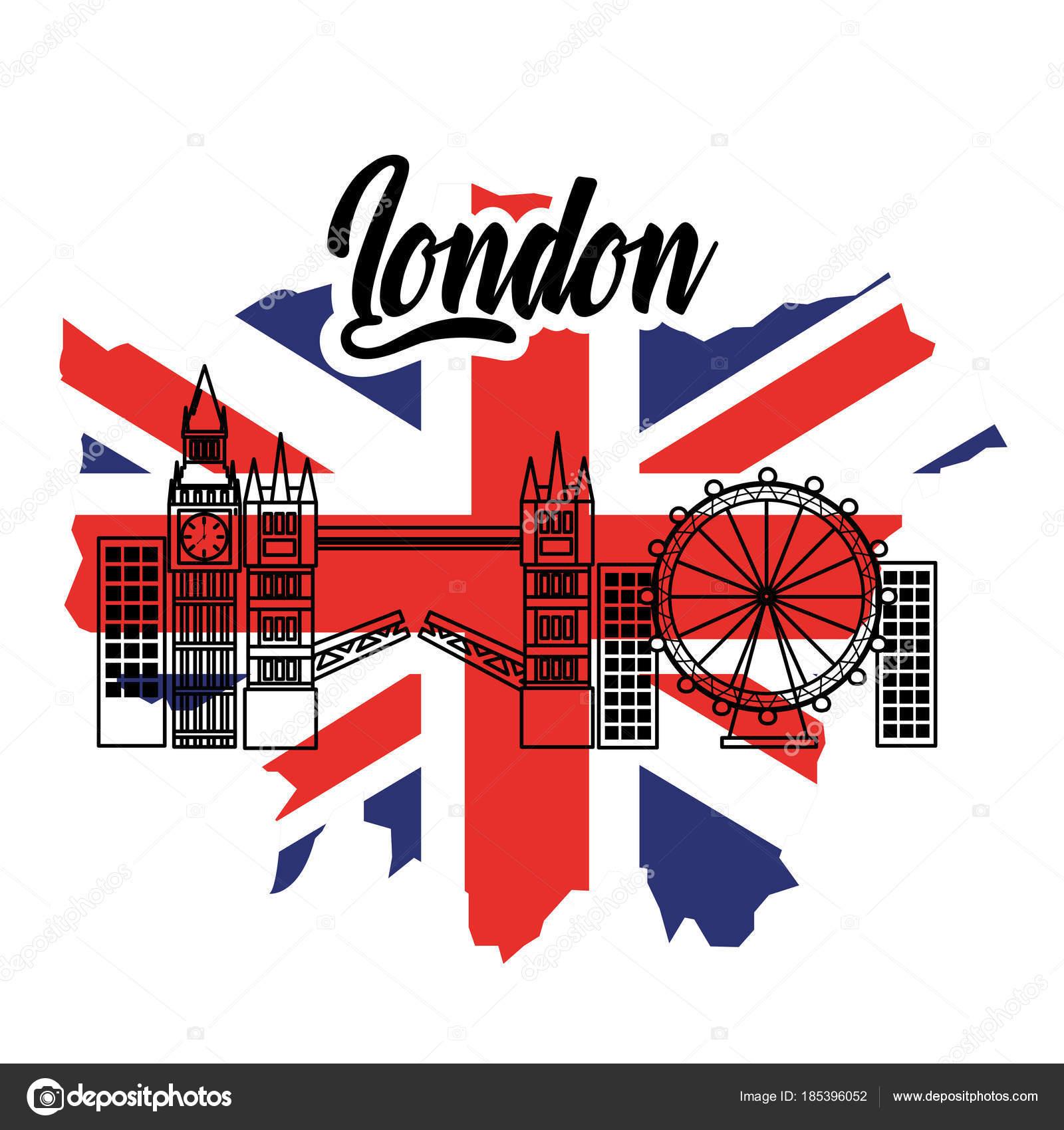 London England Toruism Reisen Wahrzeichen Flagge — Stockvektor ...