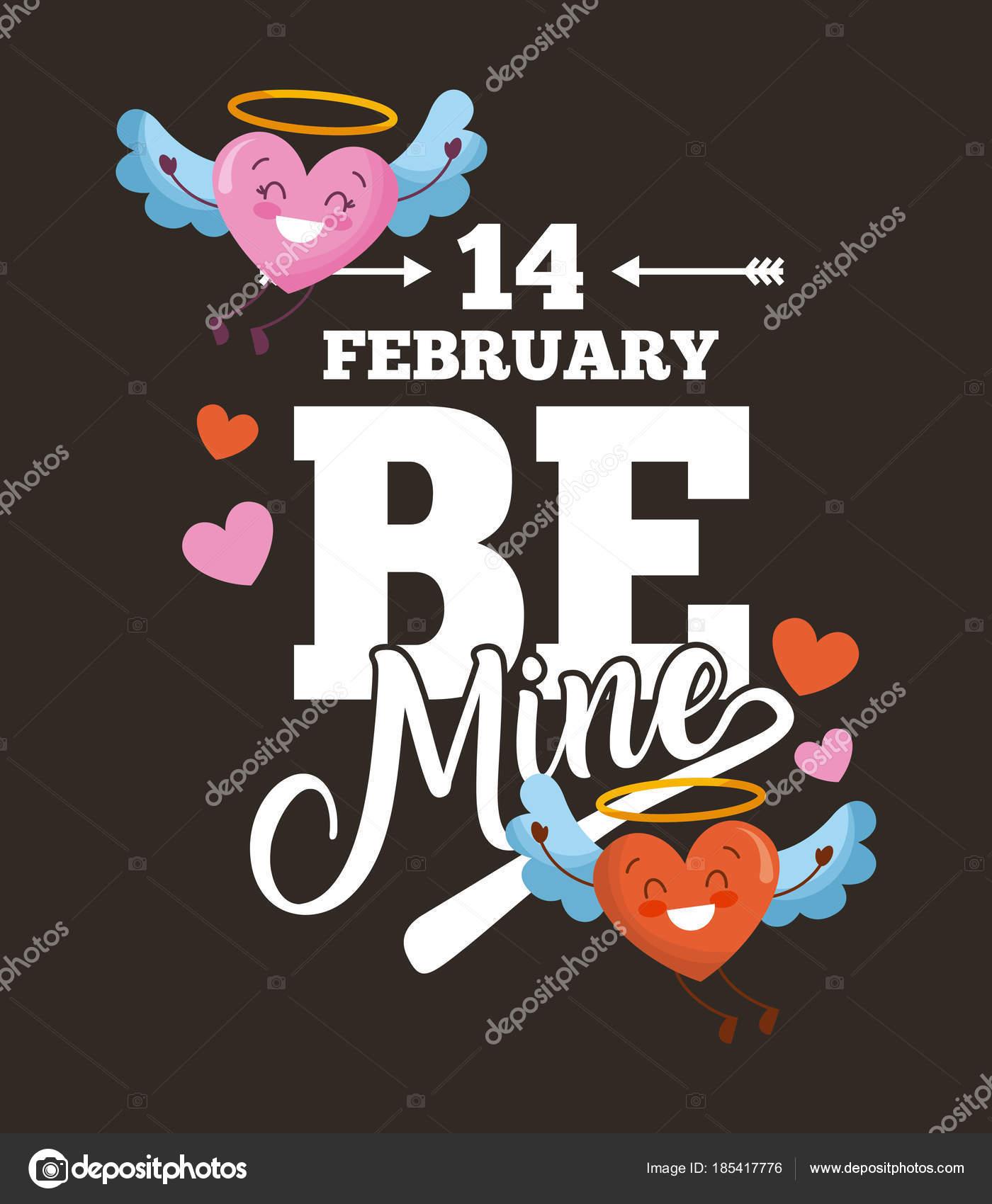 Dibujos Corazones Con Alas 14 De Febrero Ser Mina Tarjeta Amor