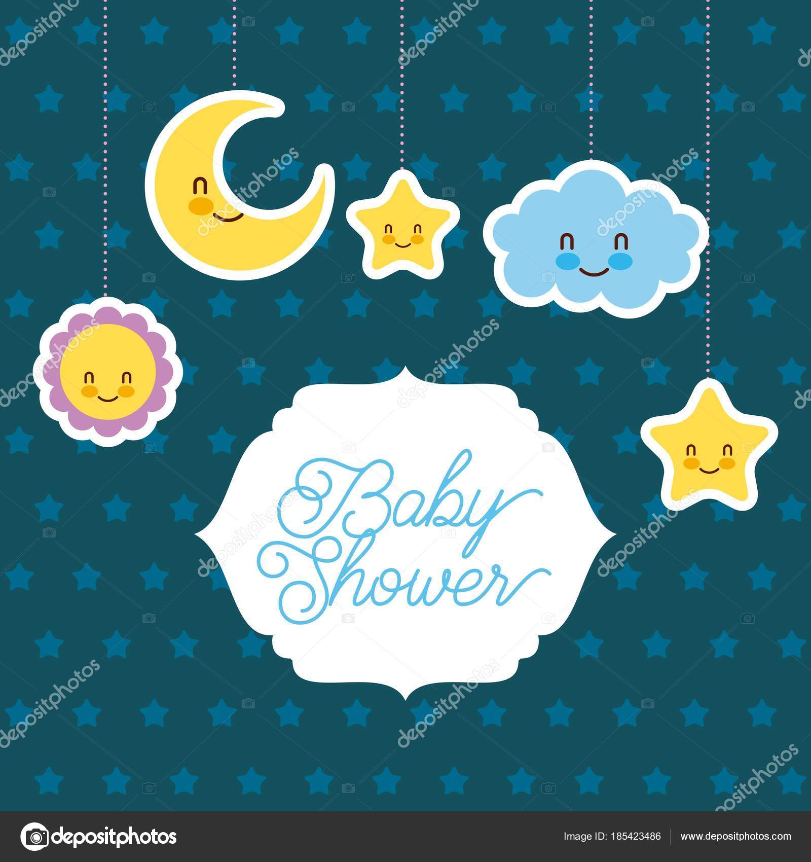 Baby Shower Card Greeting Cartoon Cloud Star Sun Moon Stock Vector