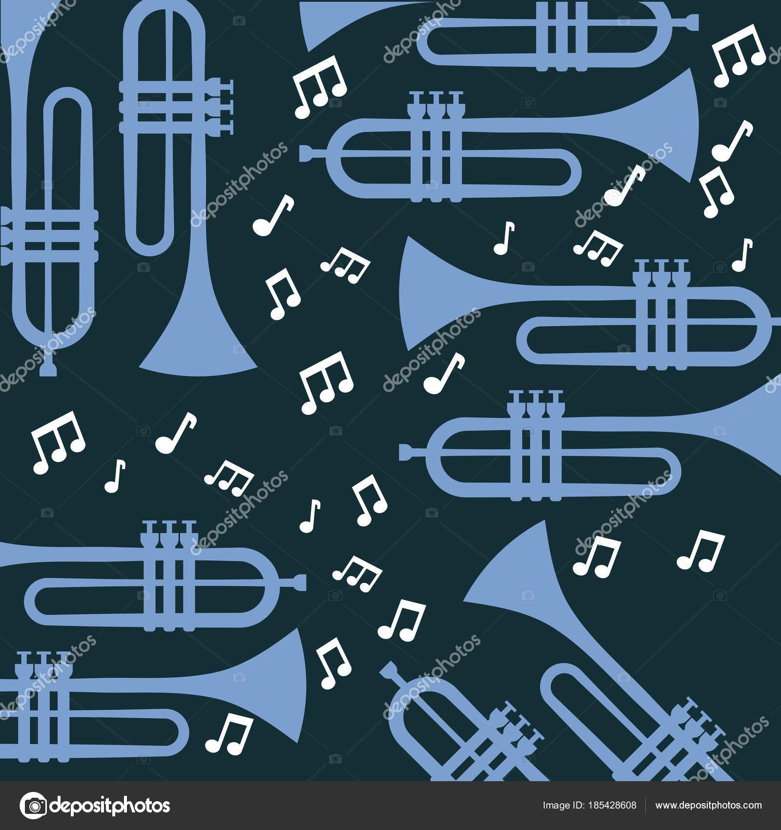 Trumpet Note Music Jazz Poster Wallpaper Patter Stock Vector