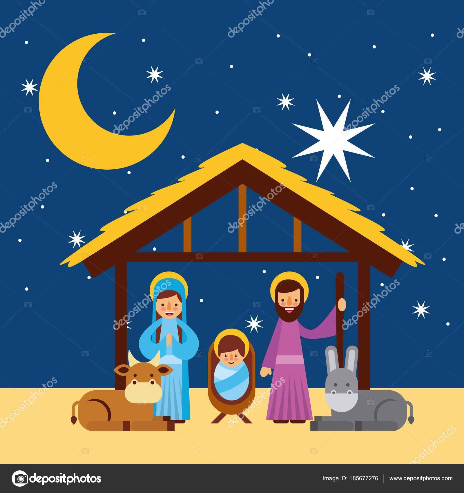 Frohe Weihnachten Heilige Familie traditionelle religiöse Szene der ...