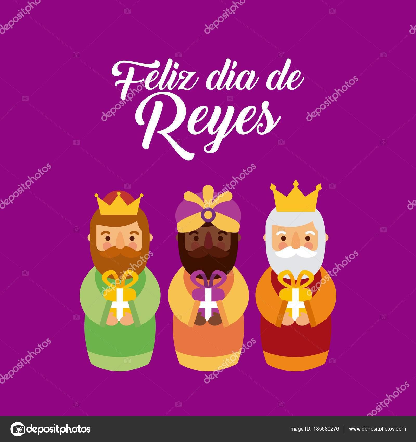 Feliz Dia De Los Reyes Die Drei Magischen Könige Bringen Stellt