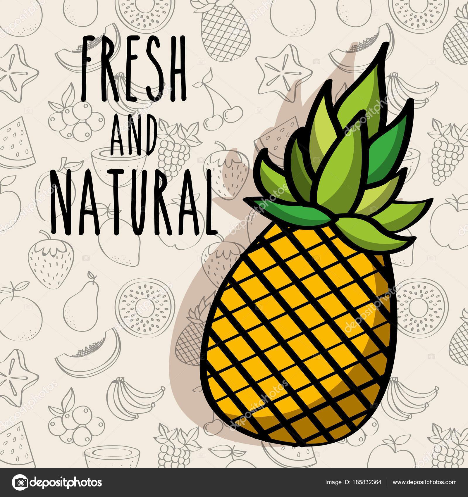 Fondo de frutas de dieta de piña fresca y natural — Vector de stock ...