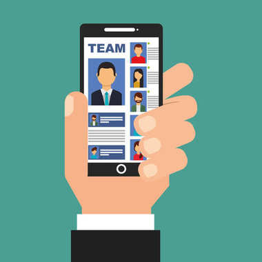 hand holding smartphone with team in screen people
