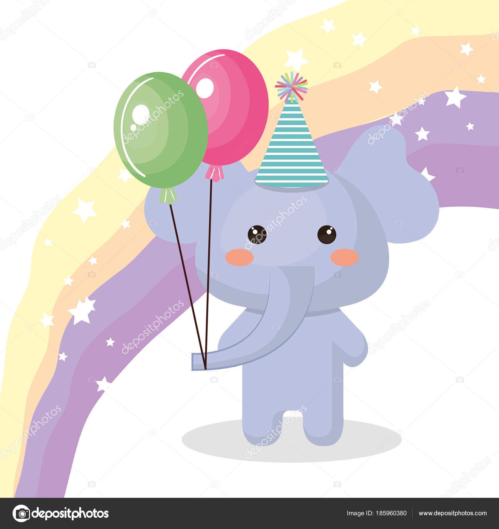 c93a5479a Lindo elefante con globos de aire fiesta dulces kawaii cumpleaños tarjeta  vector ilustración diseño - fotos  aire — Vector de ...