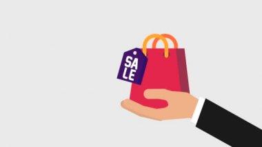 kezében bevásárlótáska