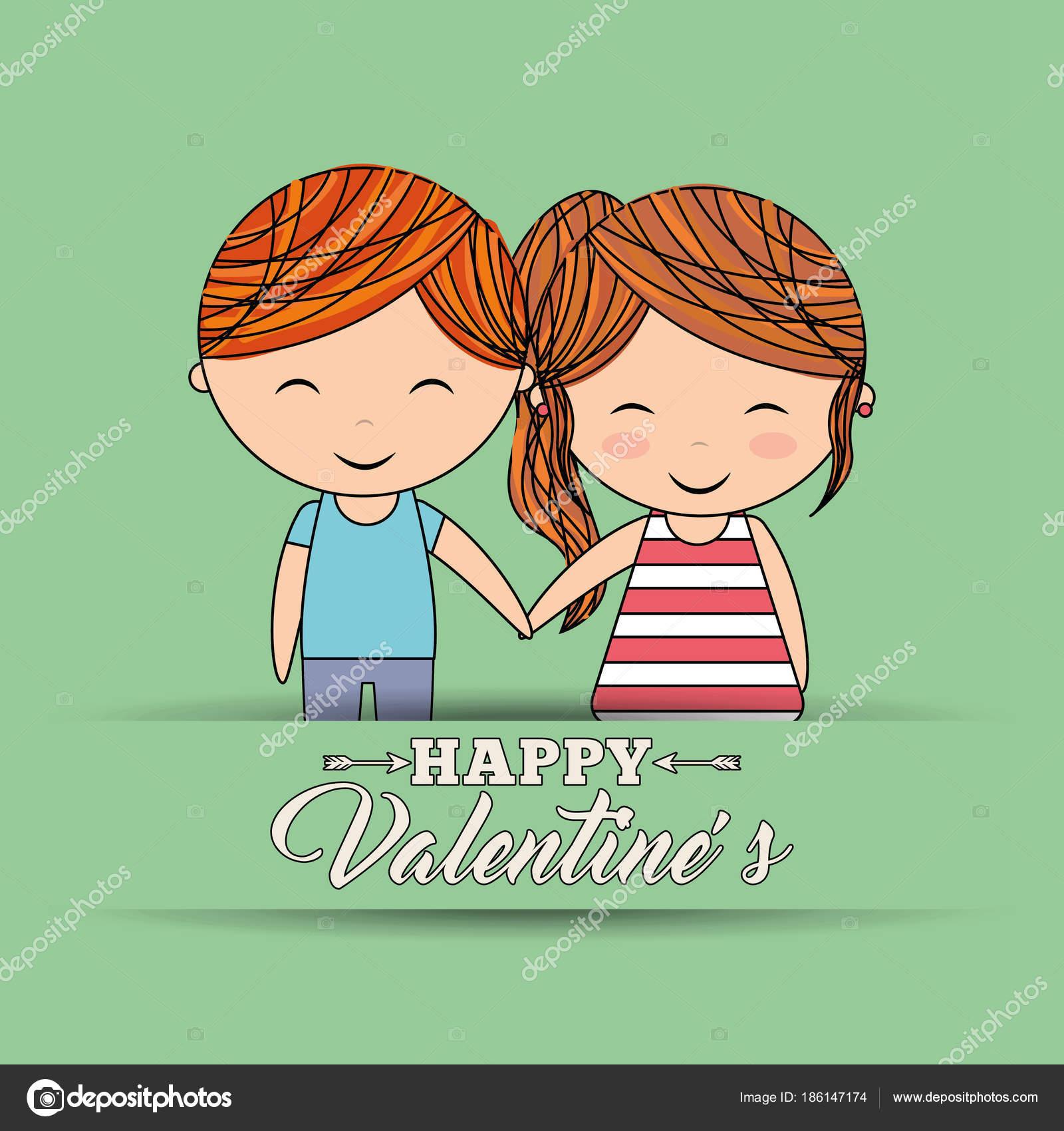 linda pareja feliz día de San Valentín las manos amor bandera verde ...