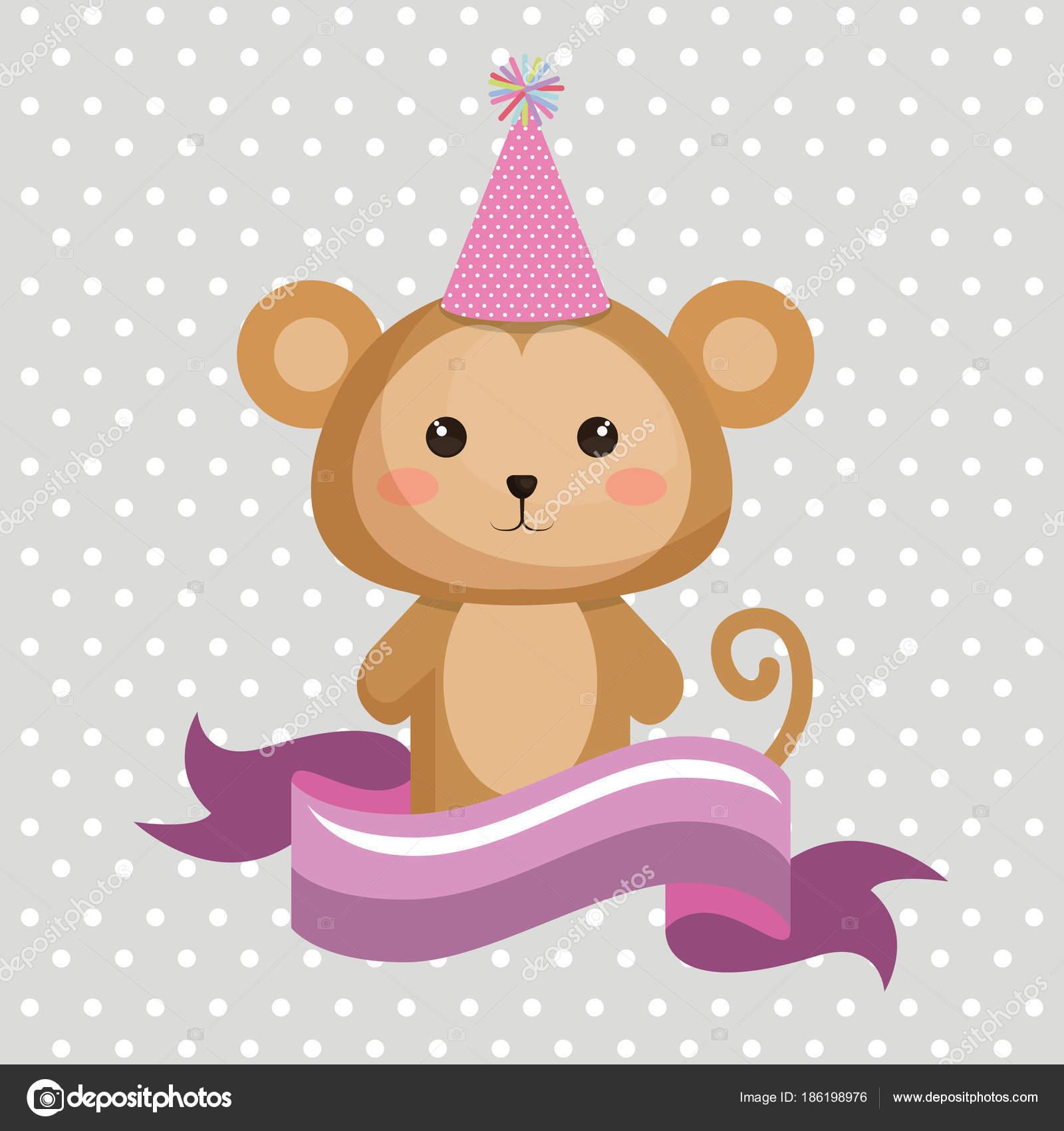 Mono lindo con diseño del partido sombrero kawaii cumpleaños tarjeta vector  ilustración — Vector de yupiramos 0daf9a4738d