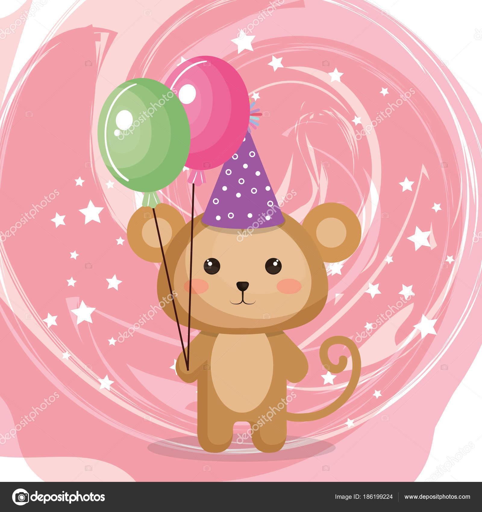 風船空気パーティーかわいいかわいい猿 — ストックベクター © yupiramos