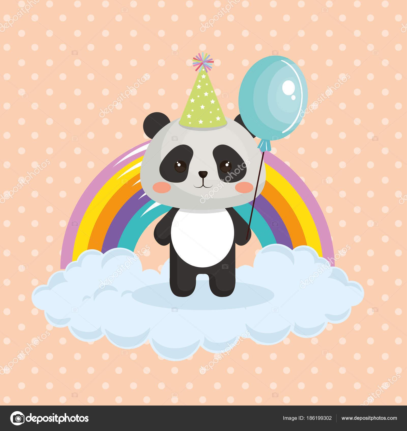 lindo oso panda con la tarjeta de cumpleaños de kawaii de arcoiris ...