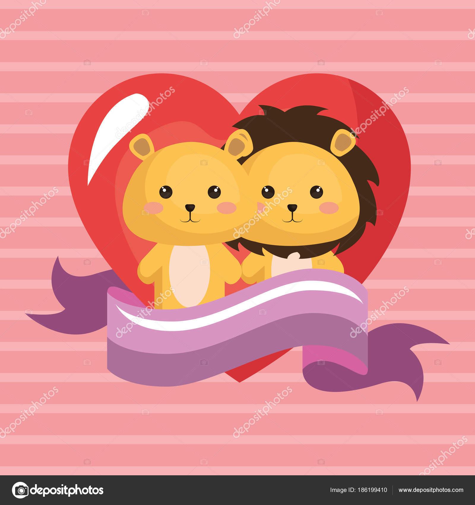 かわいいライオンのカップルかわいいバースデー カード — ストック