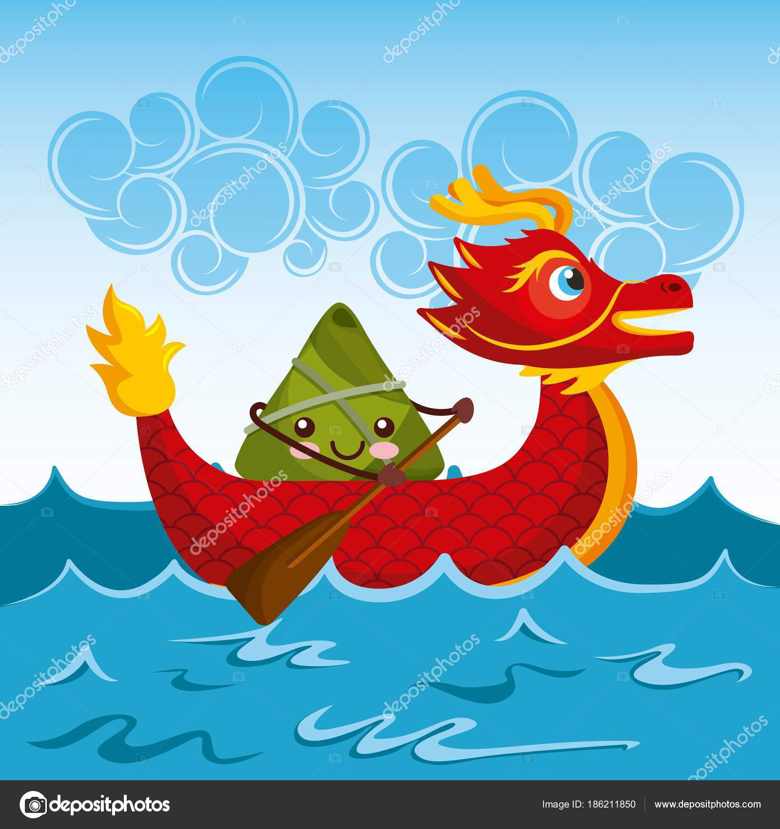 Chinese Rice Dumplings Cartoon Character And Dragon Boat Festival Vector Illustration By Yupiramos