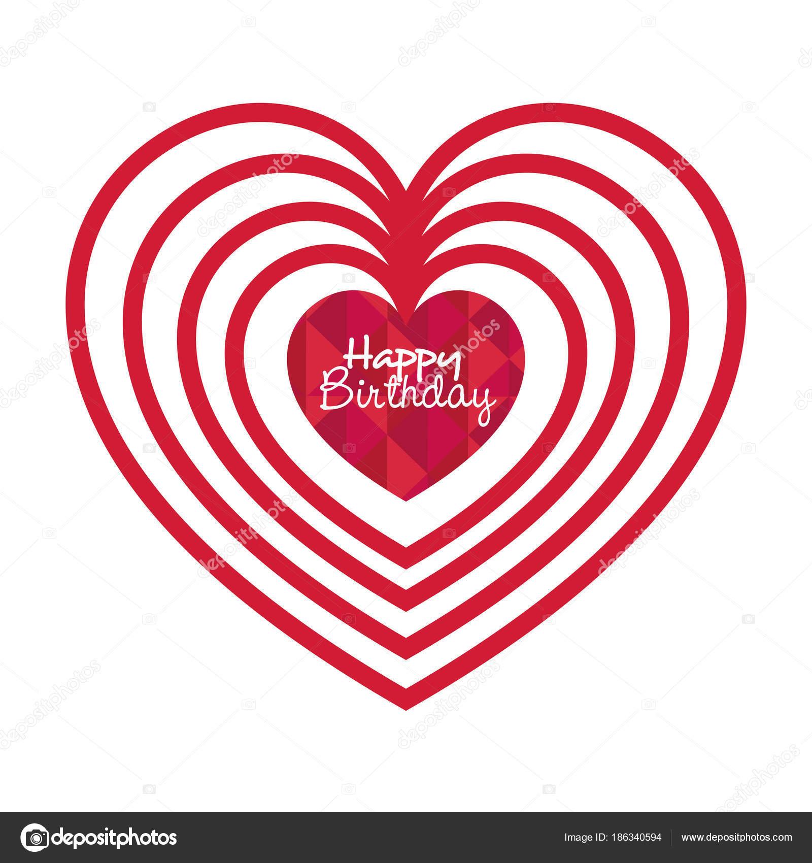 Joyeux Anniversaire Carte Avec Coeur Amour Image Vectorielle Yupiramos C 186340594