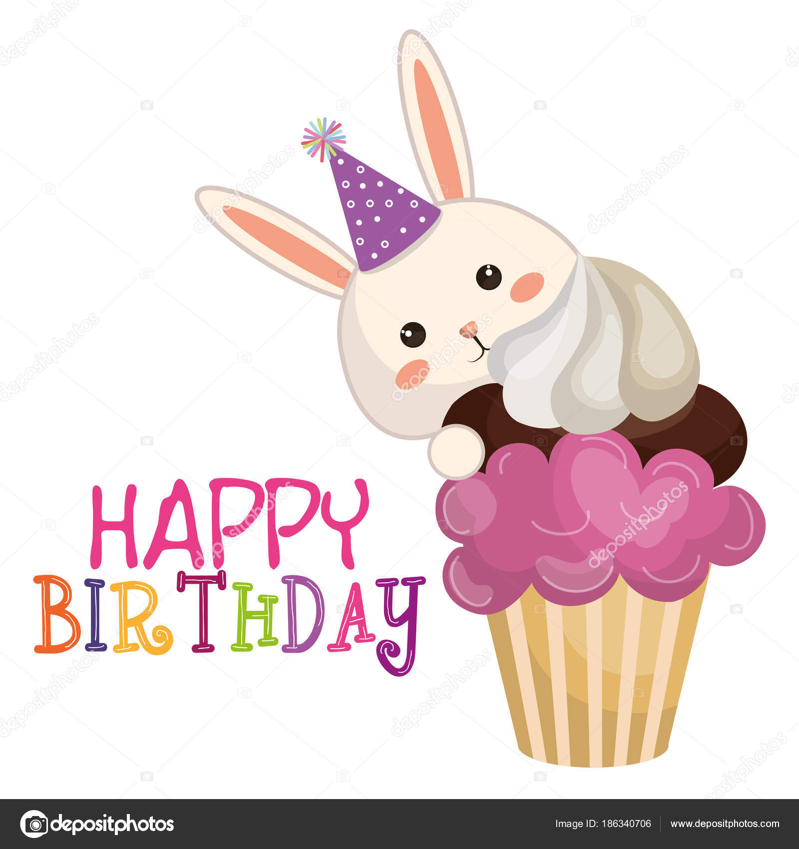 Happy Birthday Card With Bunny Character Stock Vector
