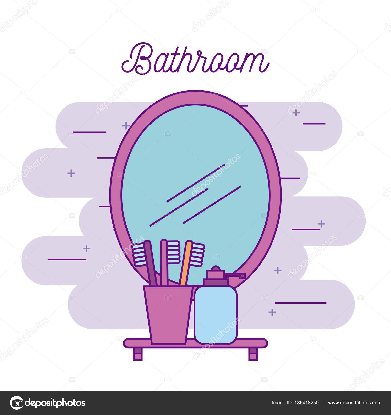 bathroom mirror and shelf with toothbrush soap — Stock Vector ...