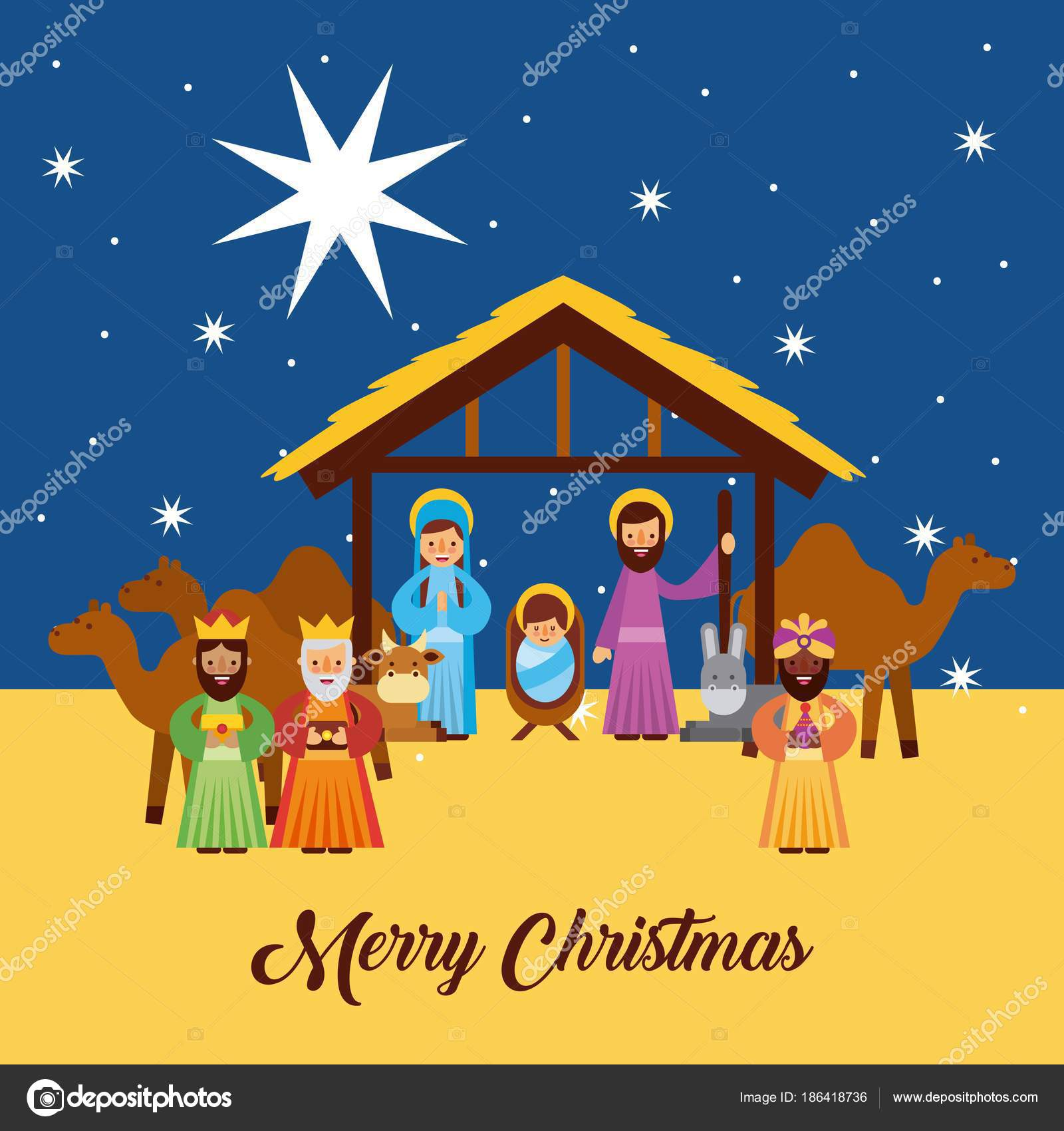 Merry Christmas Greetings With Jesus Born In Manger Joseph And Mary