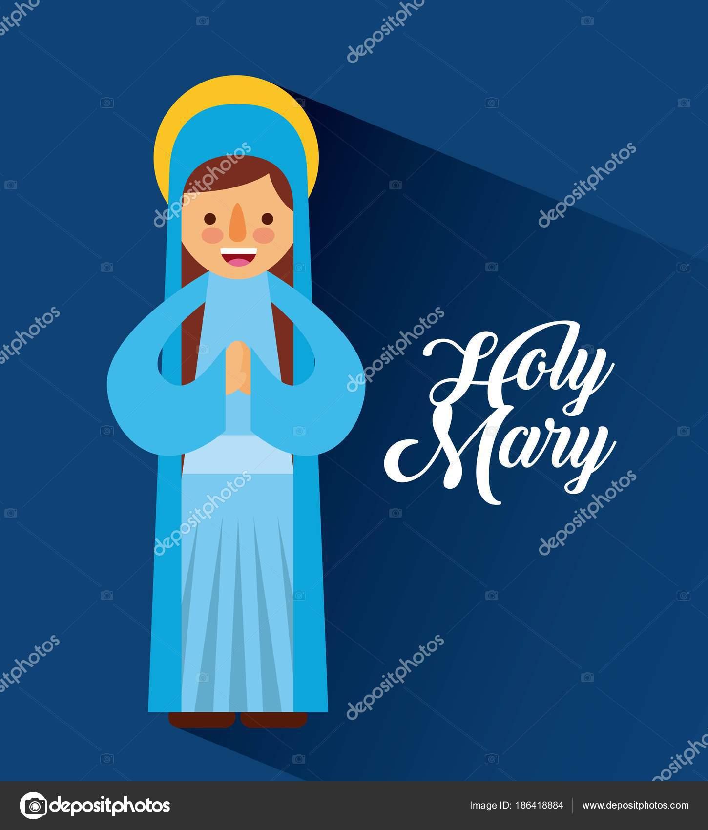 Mother Christmas Cartoon.Holy Mary Mother Blessed Christmas Cartoon Stock Vector