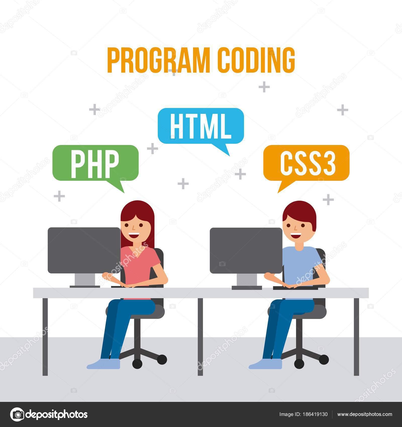 Programa codificación niña y niño desarrollo lenguajes web vector  ilustración — Vector de yupiramos c7bc3076d66