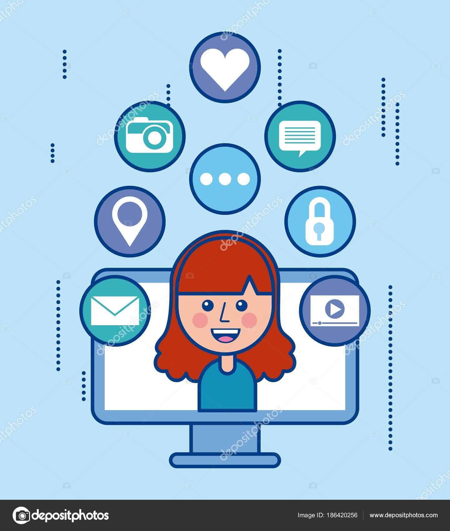 f354fb79c4f6 laptop flicka kommunikation sociala medier cartoon — Stock Vektor ...