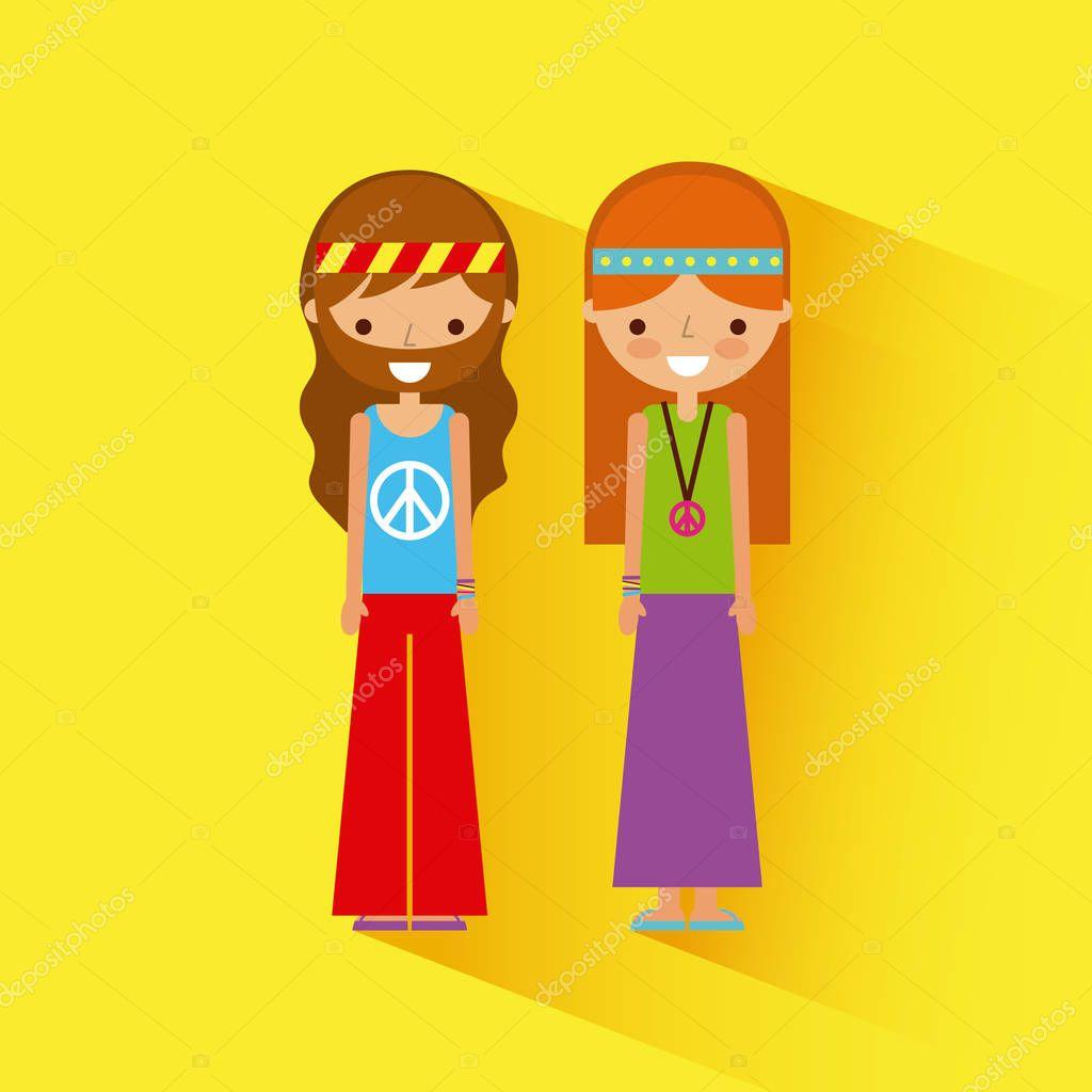 hippies scenery cartoon
