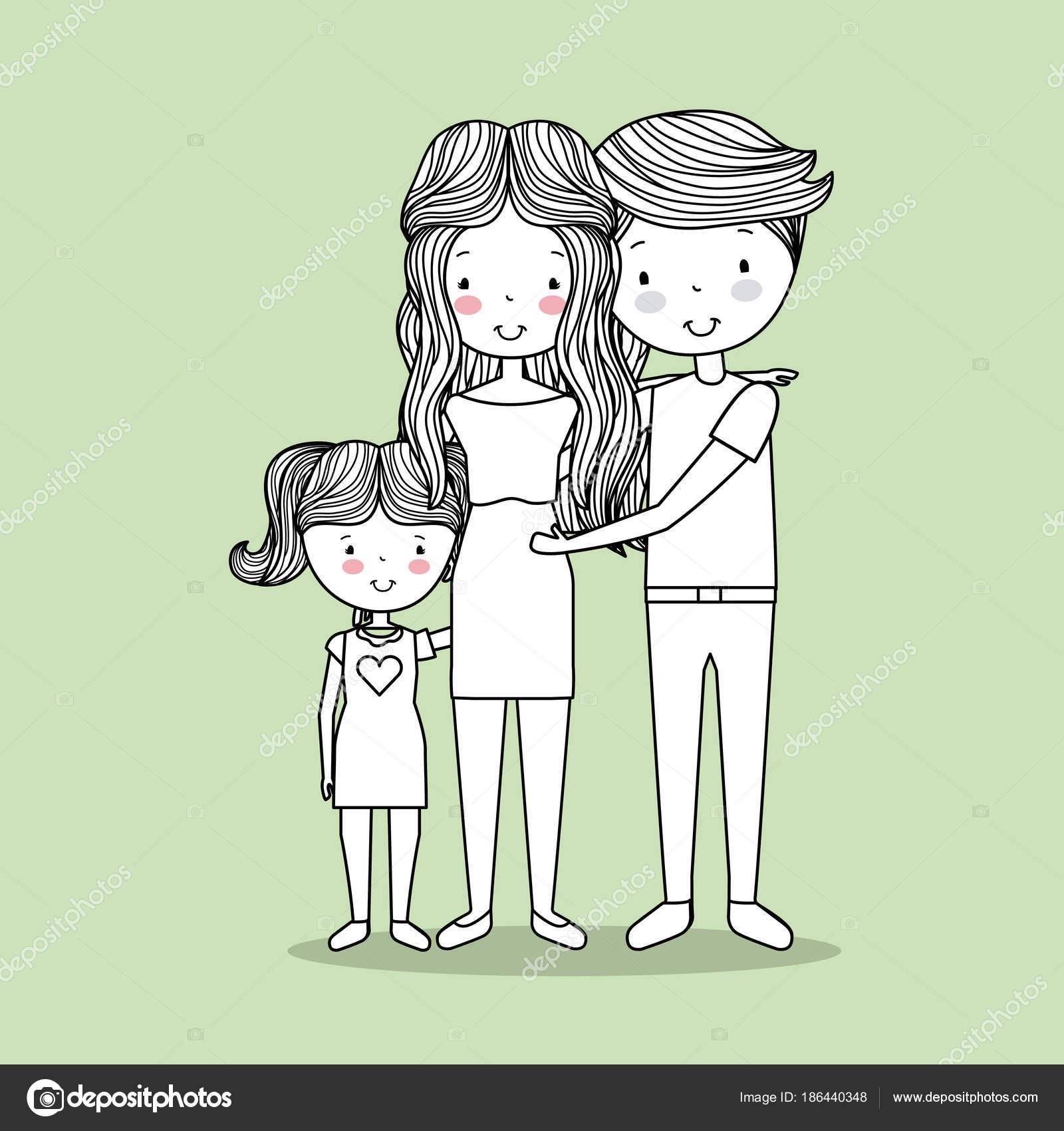 Nette Familie Hand Gezeichnete Bild Stockvektor Yupiramos 186440348