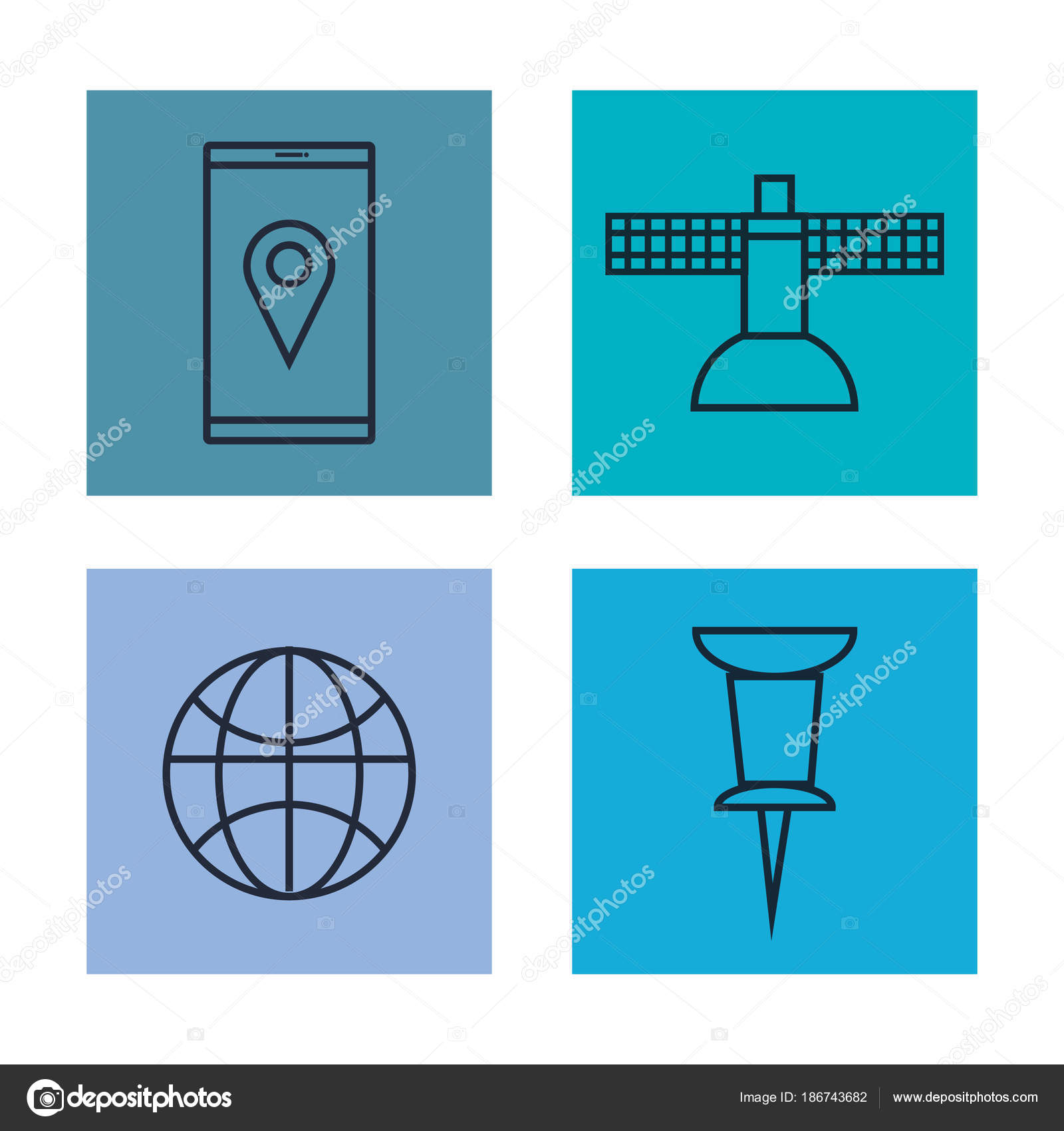 gps navigation app icons — Stock Vector © yupiramos #186743682