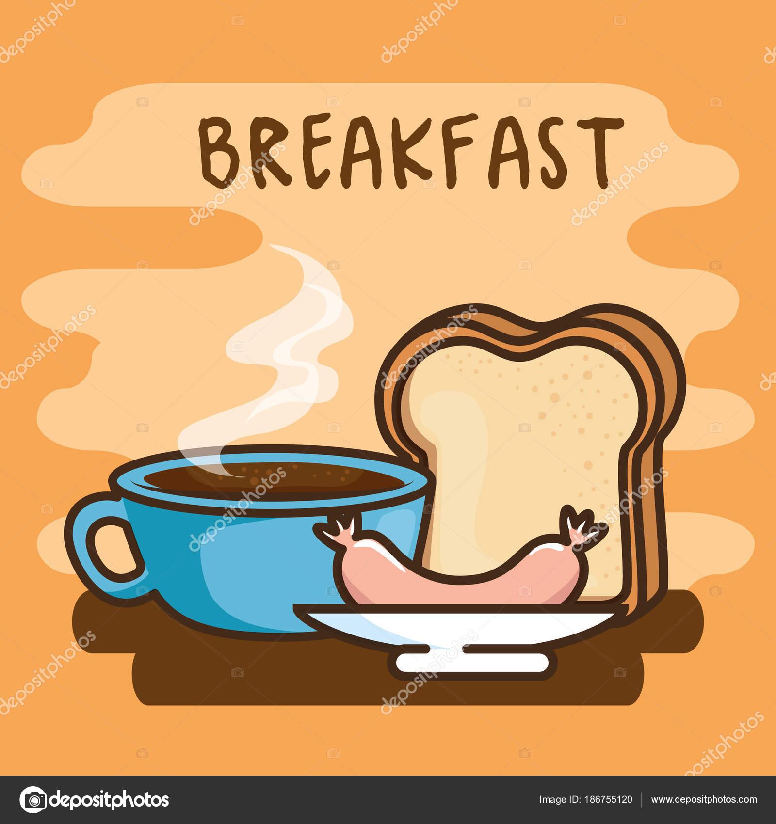 Kawaii Bonito Pequeno Almoço Comida Dos Desenhos Animados Vetor Ilustração  Design Gráfico U2014 Vetor De Yupiramos