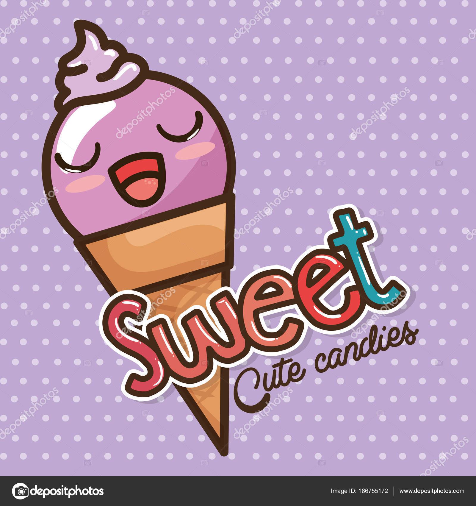 Dessin Animé De Kawaii Sucreries Et Bonbons Image