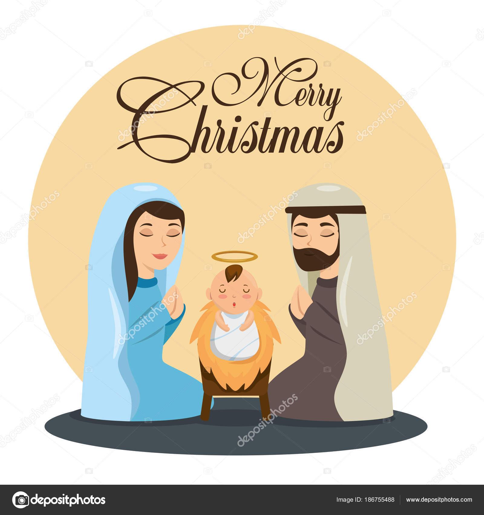Immagini Sacre Di Buon Natale.Scena Di Nativita Di Buon Natale Con Sacra Famiglia