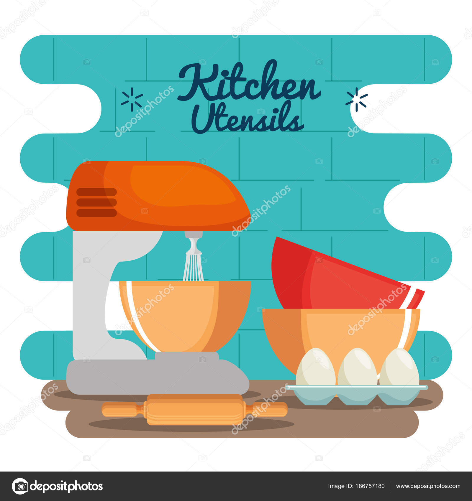 colorful kitchen utensils. Colorful Kitchen Utensils Vector Illustration Graphic Design \u2014 By Yupiramos
